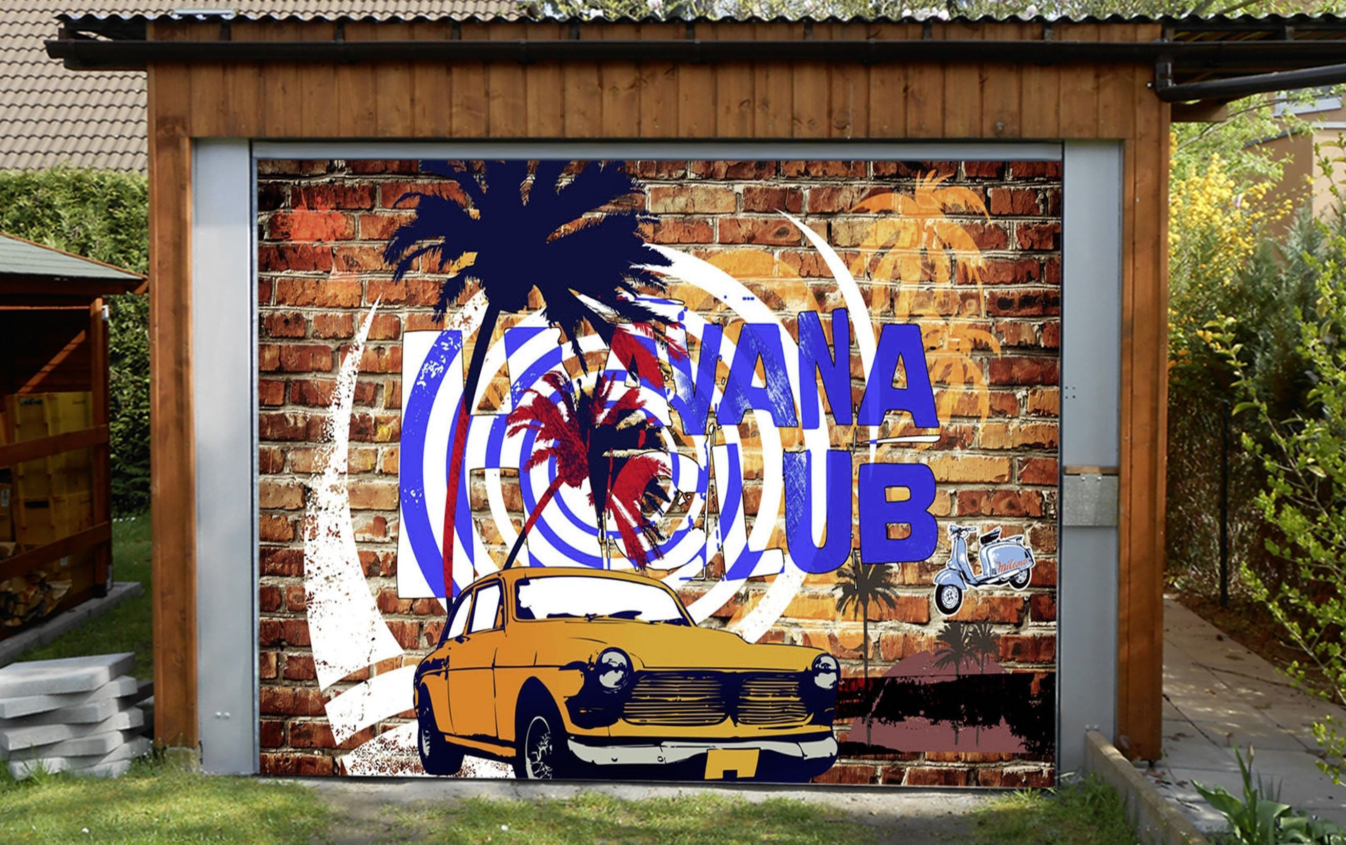 3d bricks wall graffiti car 73 garage door mural