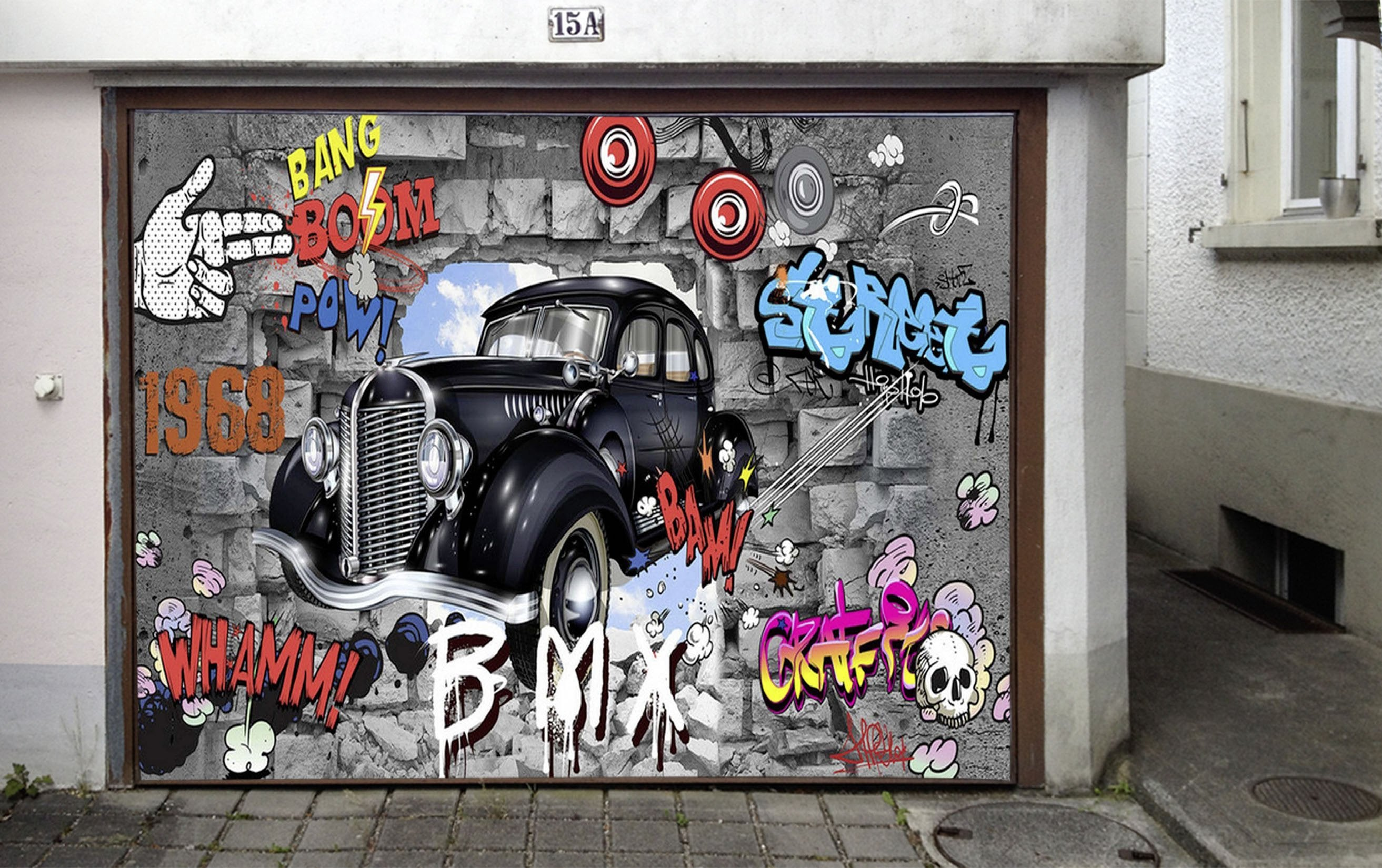 3d car and graffiti words 59 garage door mural