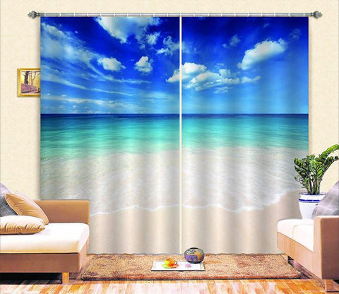 3D Blue Sky and White Clouds Beach Curtains Drapes Wallpaper AJ Wallpaper