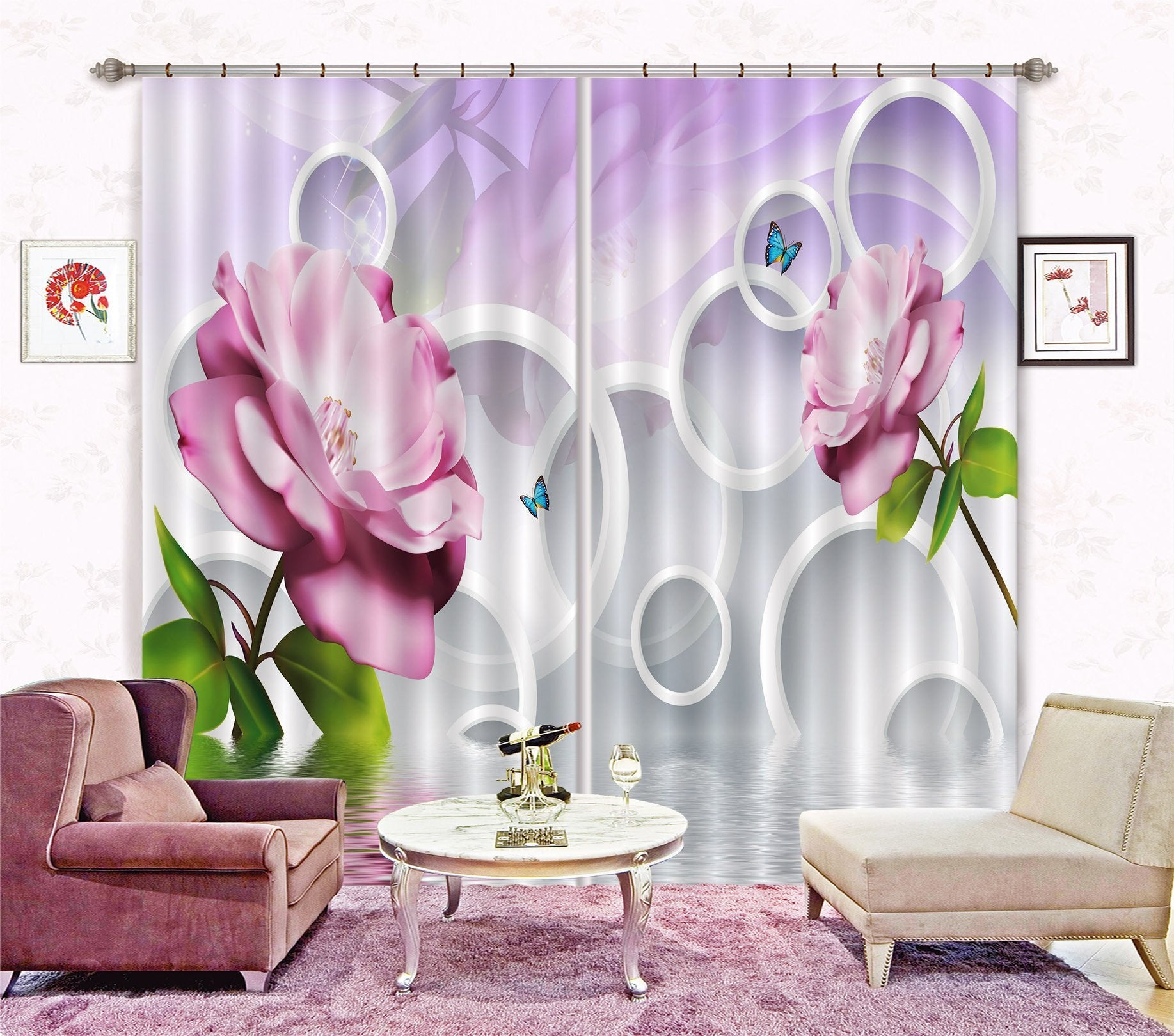 3D Flowers And Rings 298 Curtains Drapes Wallpaper AJ Wallpaper