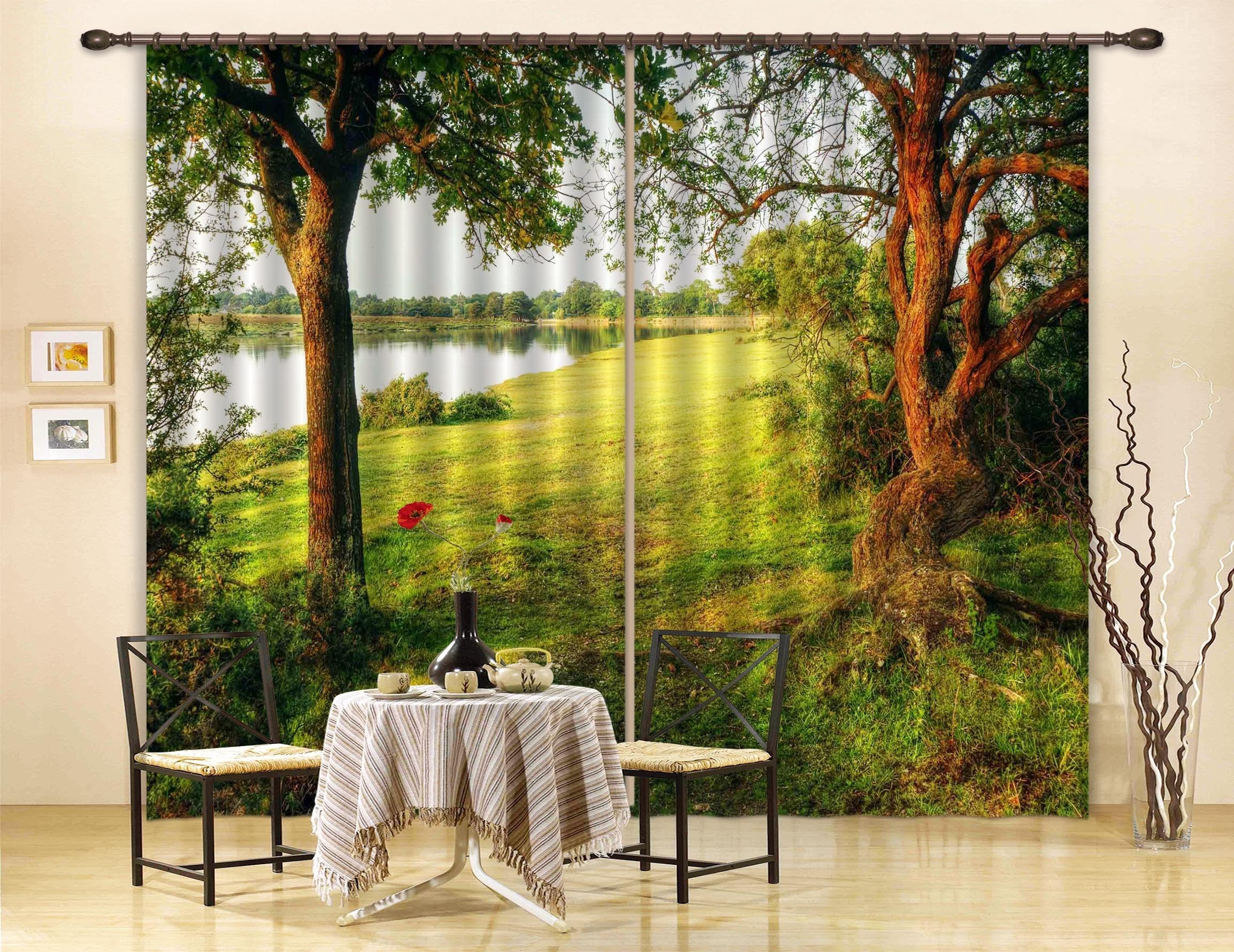 3D Lakeside Grassland Trees 678 Curtains Drapes Wallpaper AJ Wallpaper