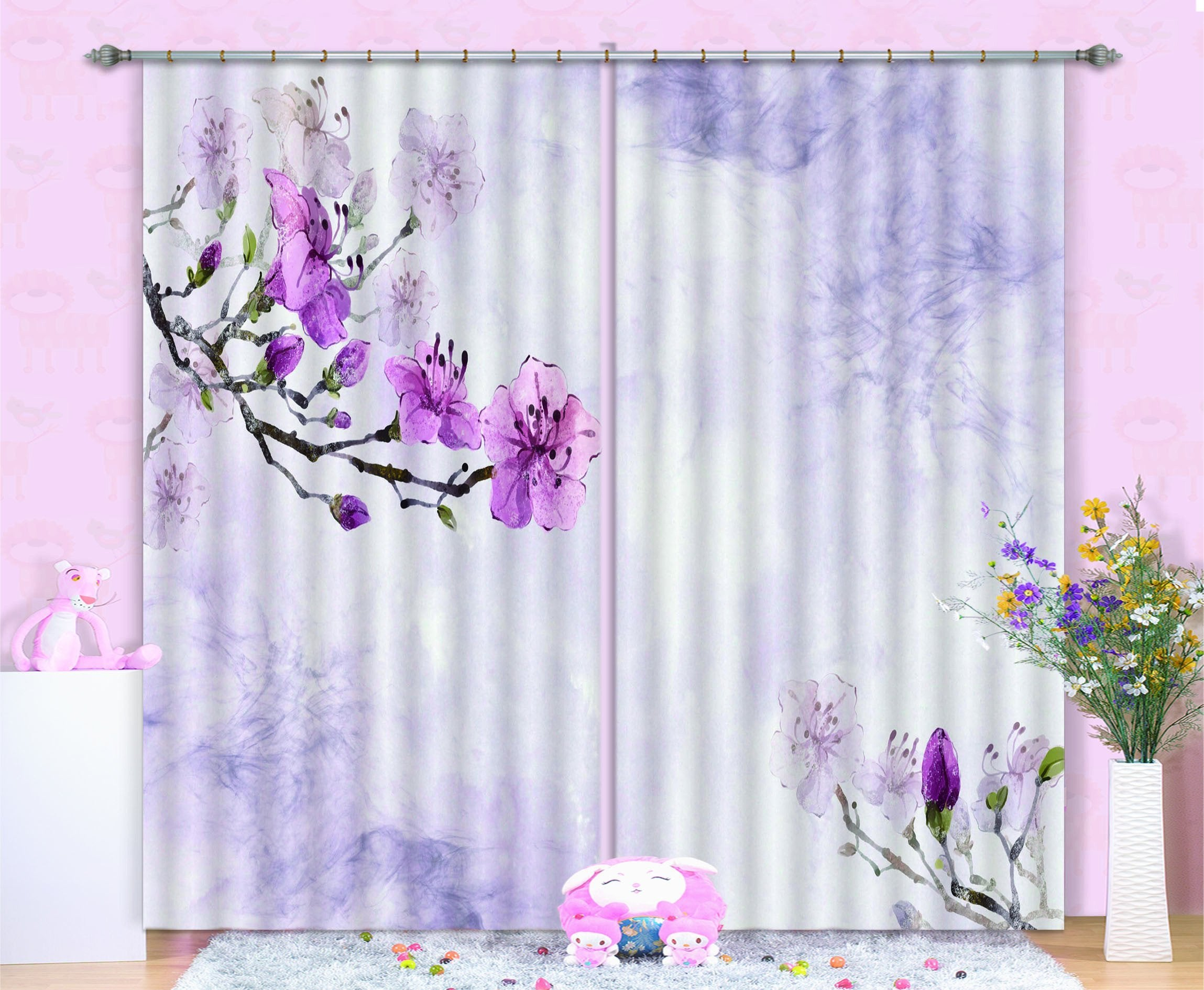 3D Flowers Branches 460 Beach Curtains Drapes Wallpaper AJ Wallpaper