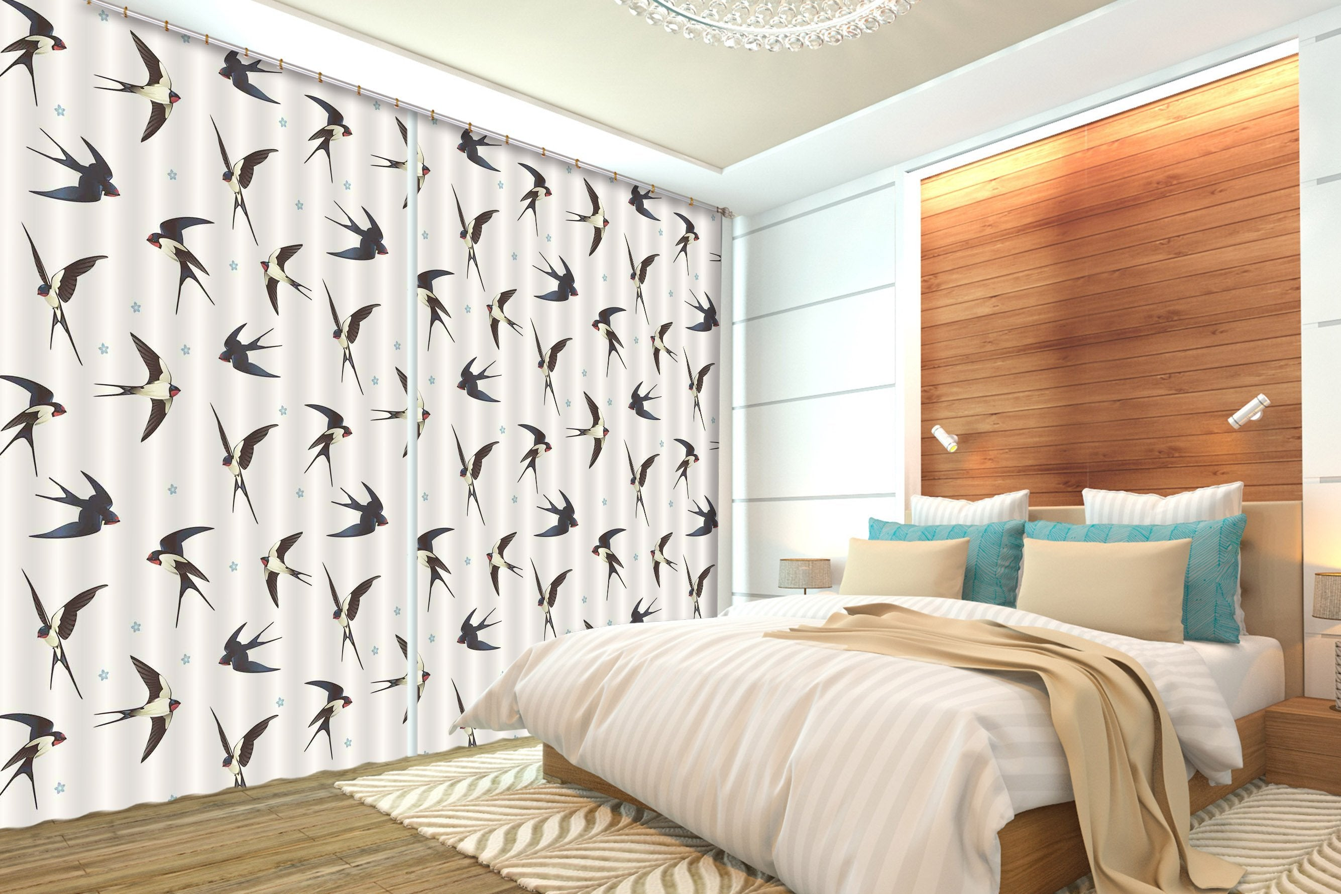 3D Swallows 2226 Curtains Drapes Wallpaper AJ Wallpaper