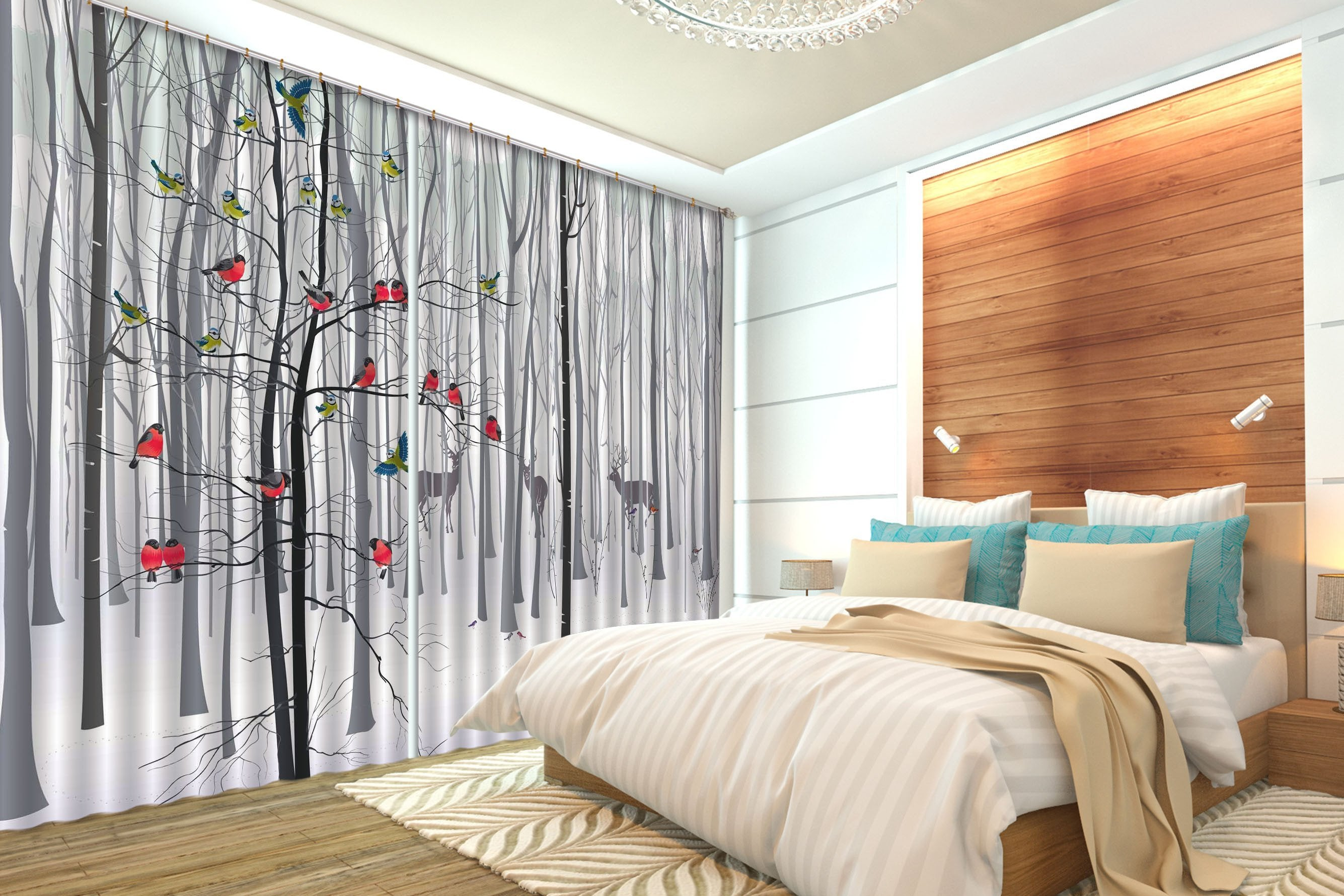 3D Bare Trees Animals 501 Curtains Drapes Wallpaper AJ Wallpaper
