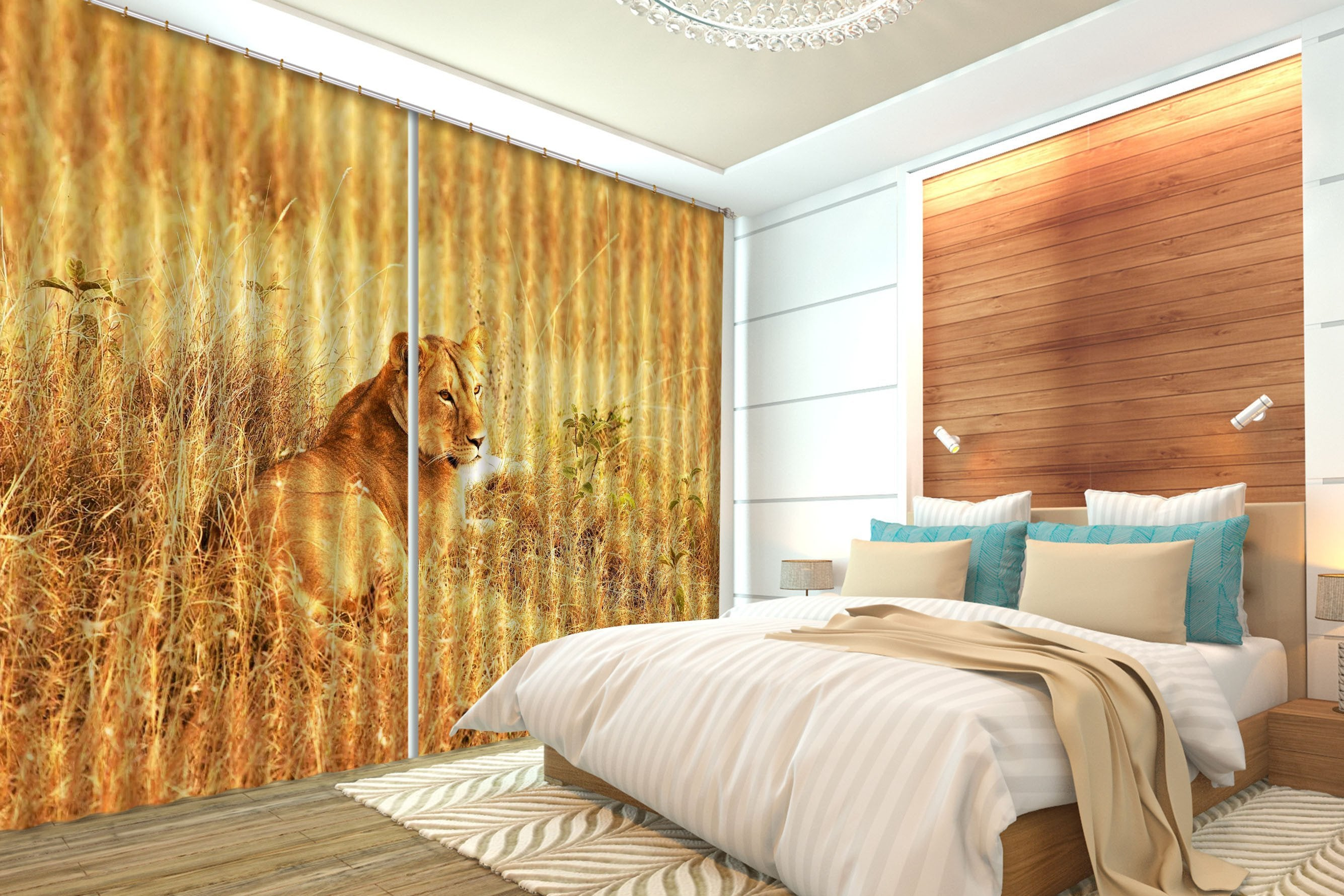 3D Wilderness Lion 107 Curtains Drapes Wallpaper AJ Wallpaper