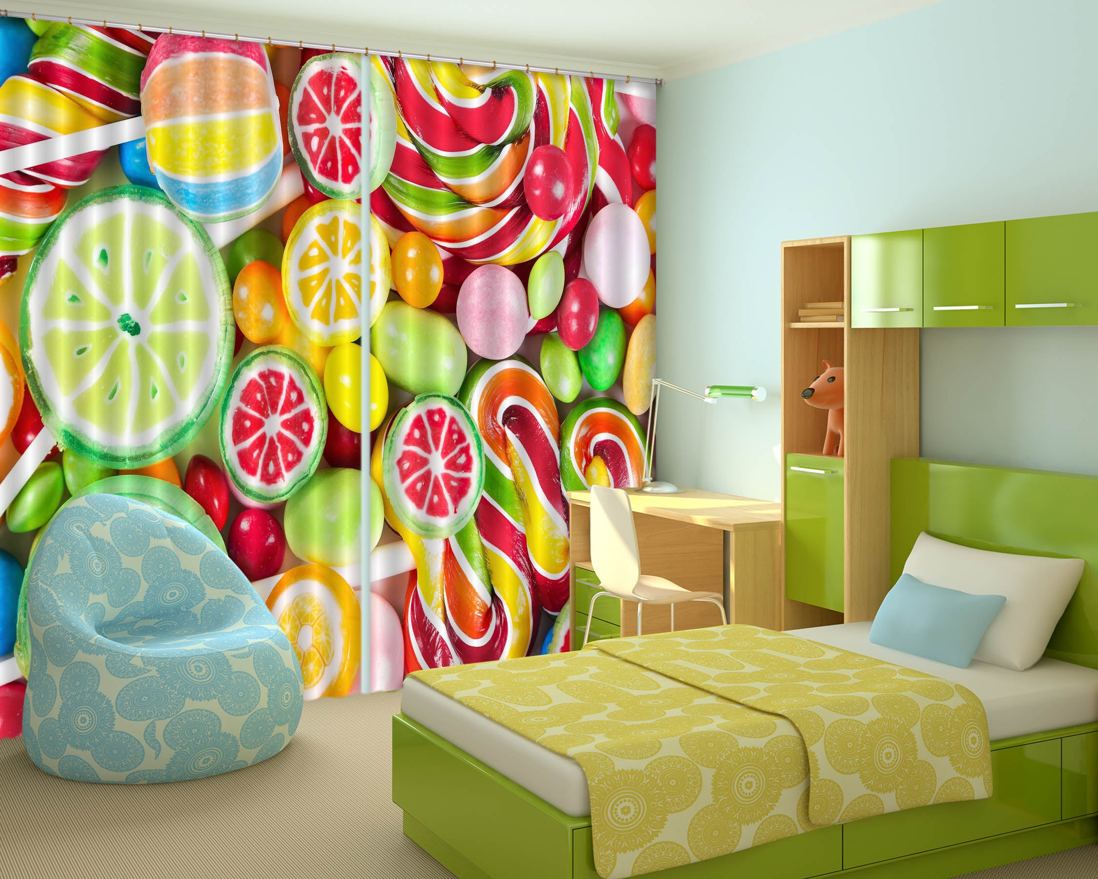 3D Colored Candy 703 Curtains Drapes