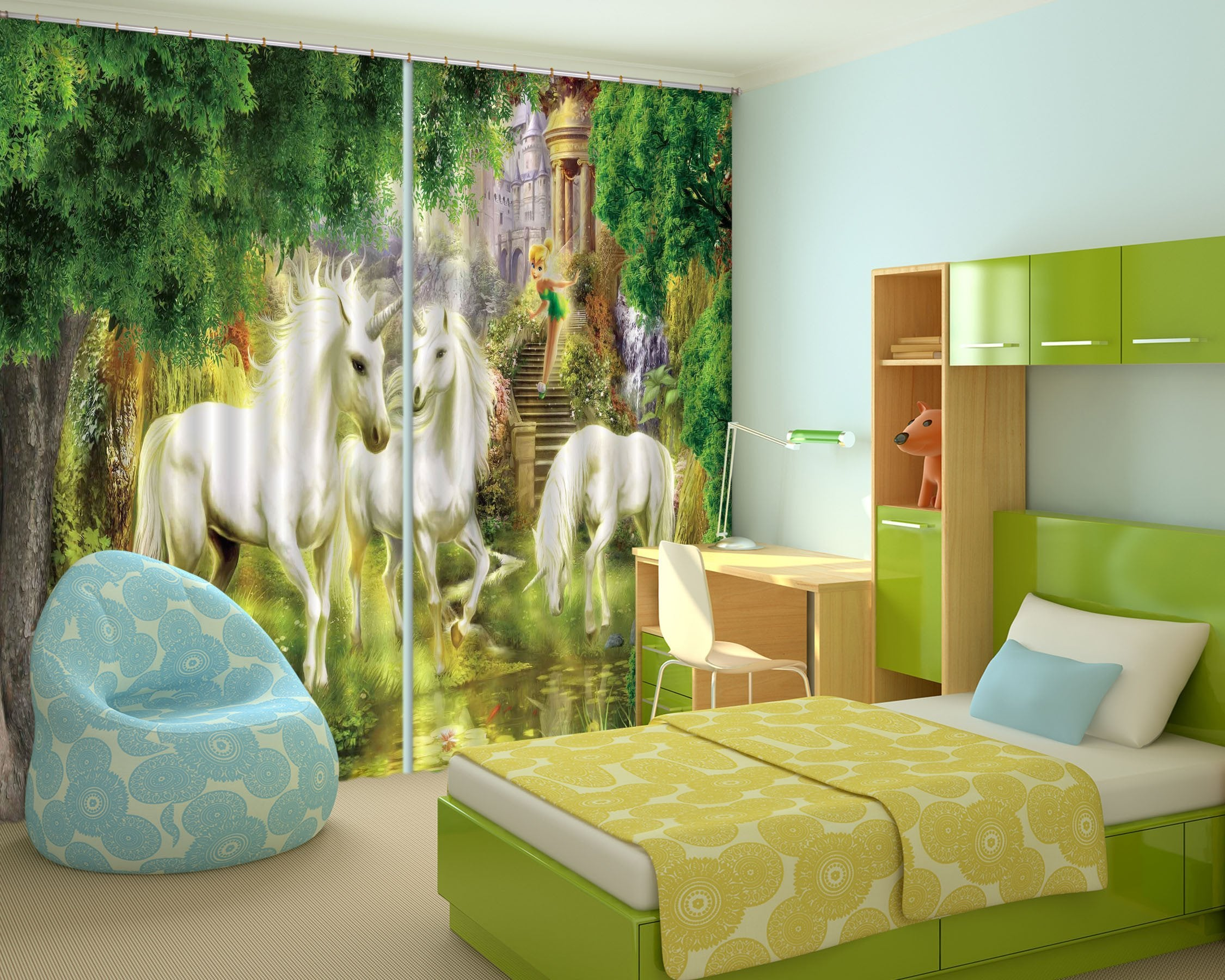 3D Unicorns Elf Castle 84 Curtains Drapes Wallpaper AJ Wallpaper