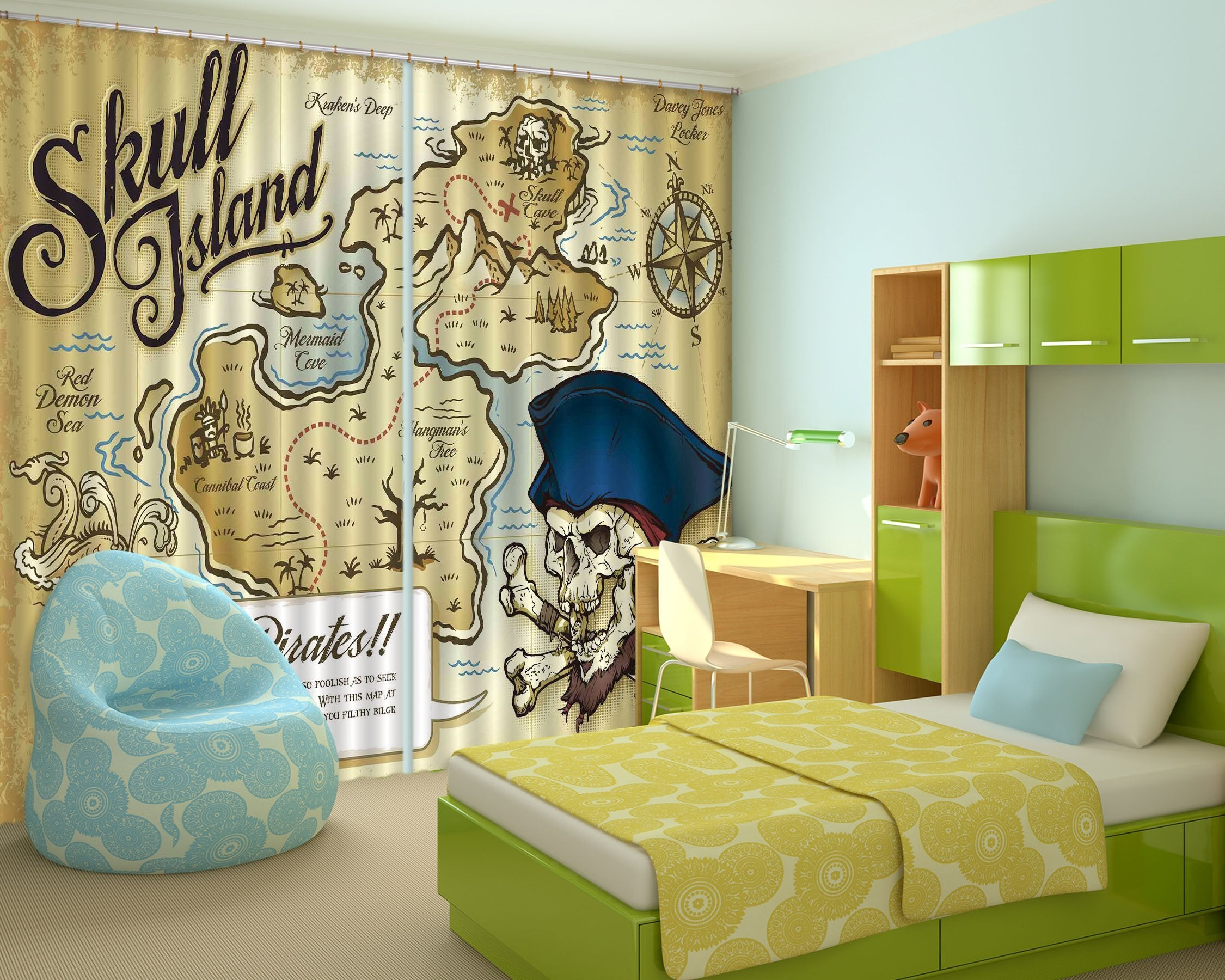 3D Skull Island Map 2251 Curtains Drapes Wallpaper AJ Wallpaper