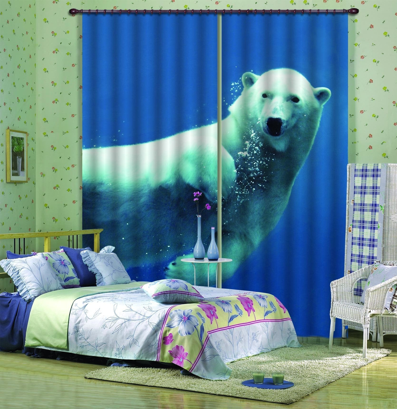 3D Lovely Swimming Polar Bear 610 Curtains Drapes Wallpaper AJ Wallpaper