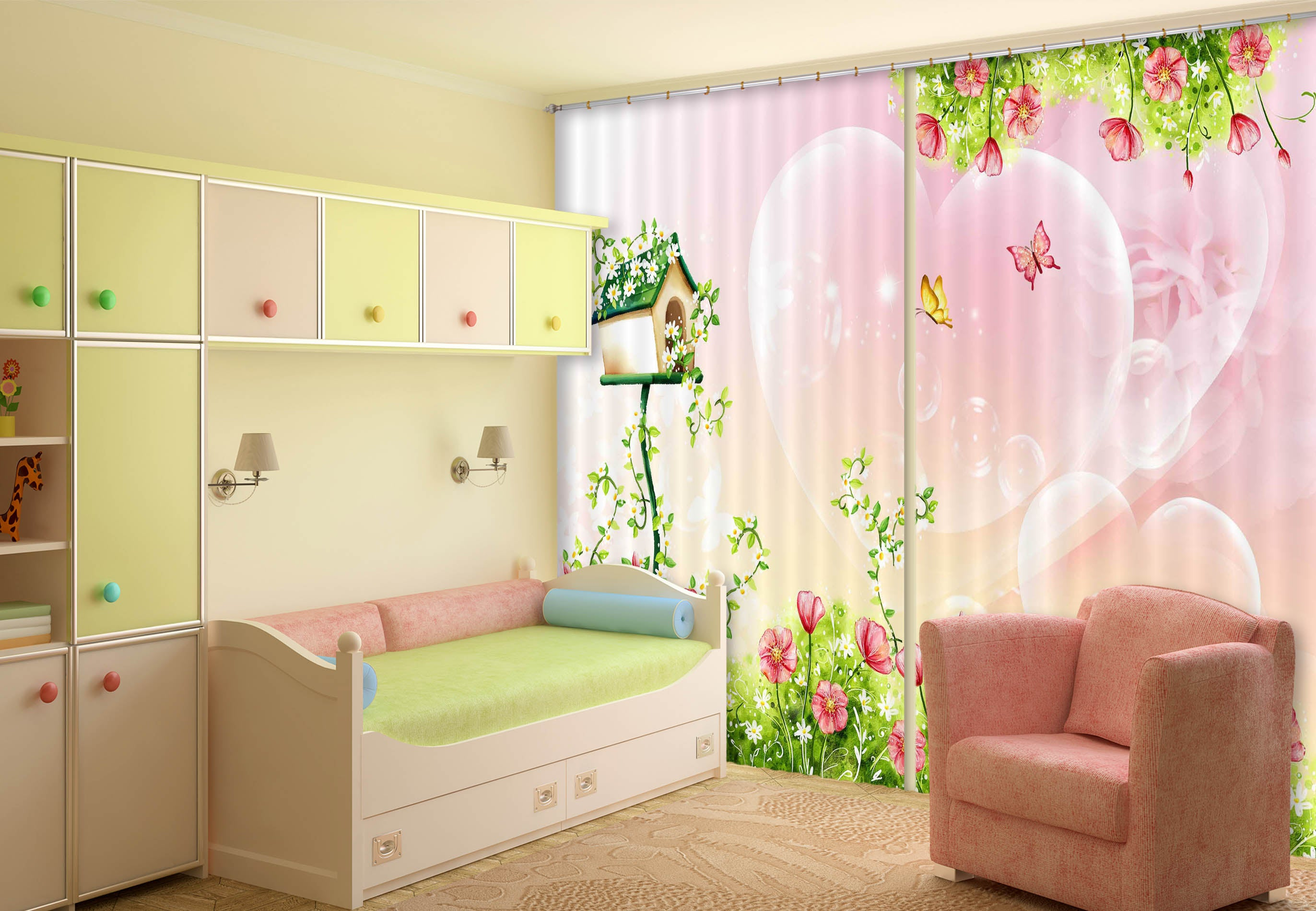 3D Caring Butterfly 802 Curtains Drapes