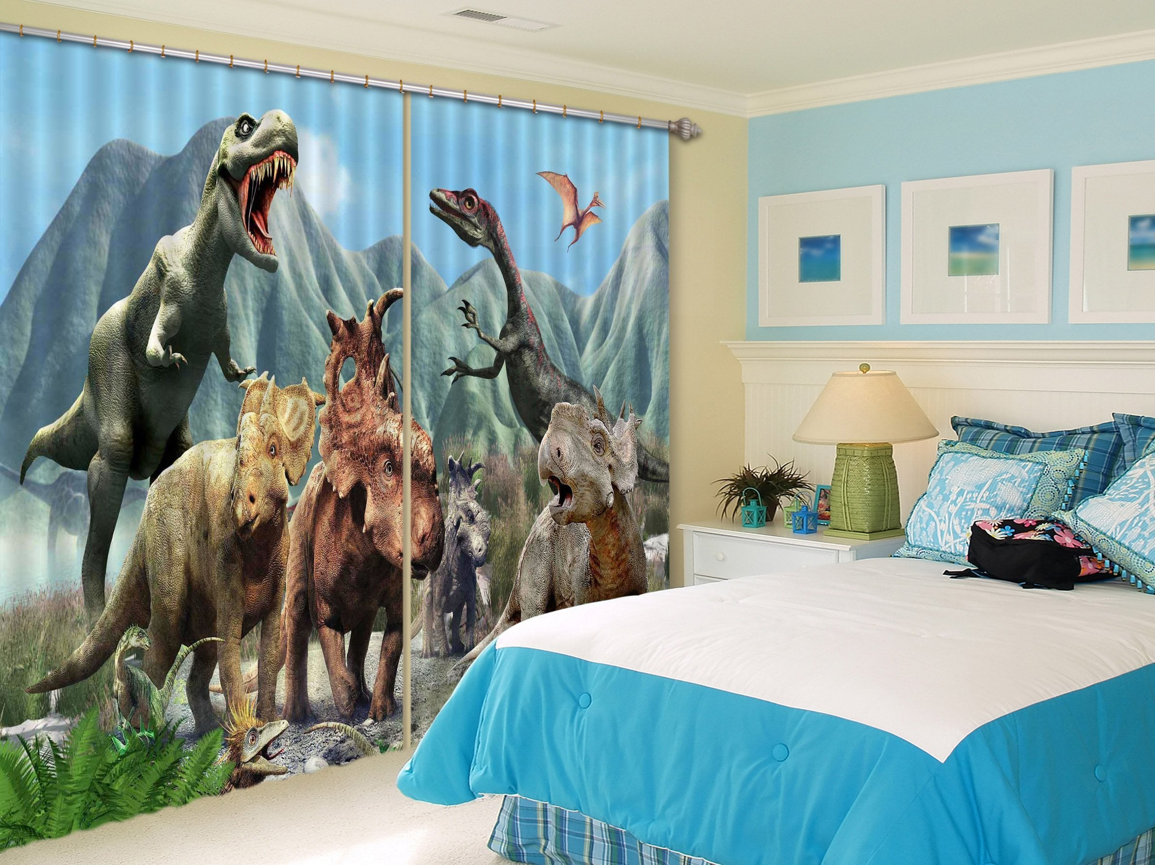 3D Mountains Dinosaurs 2243 Curtains Drapes Wallpaper AJ Wallpaper