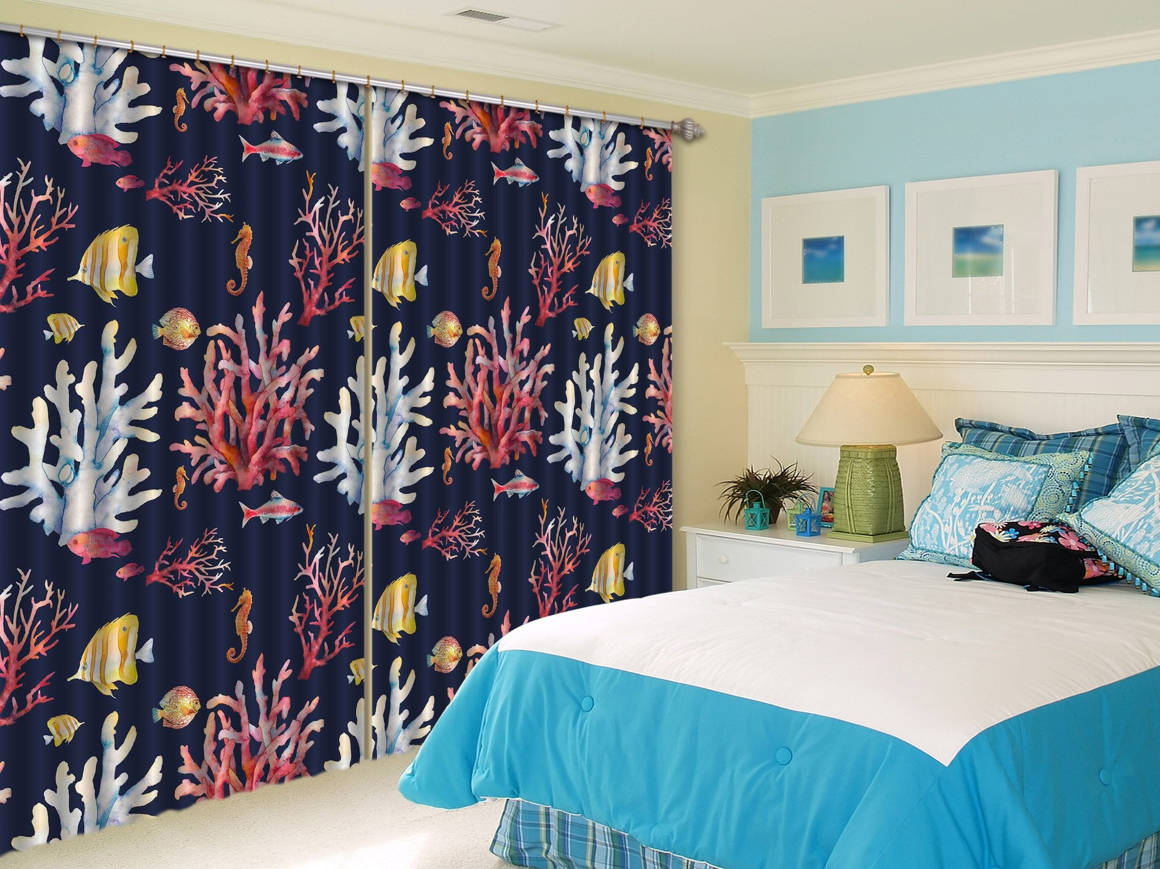 3D Corals And Fishes 2345 Curtains Drapes Wallpaper AJ Wallpaper