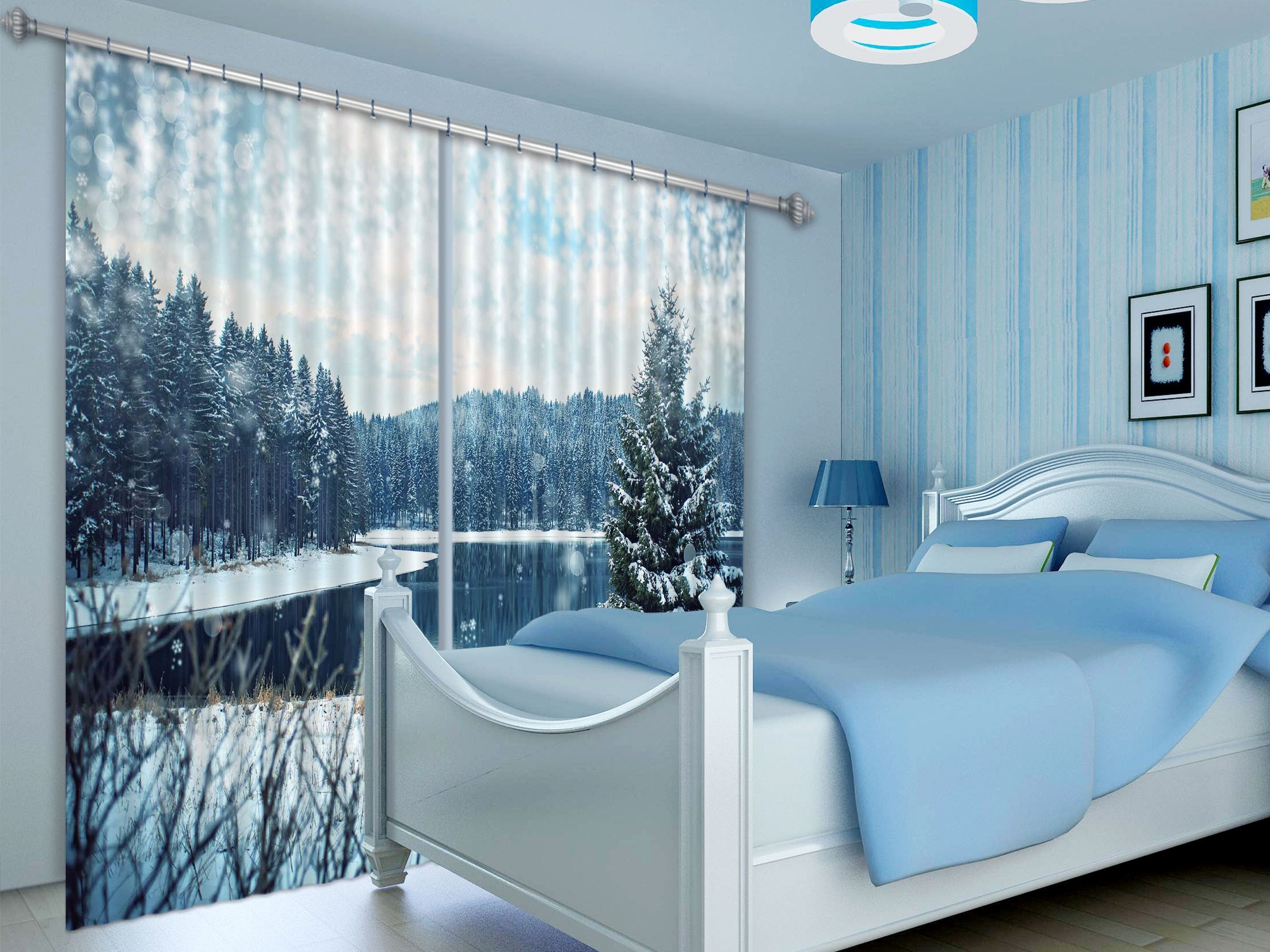 3D Snowing Forest Lake 402 Curtains Drapes Wallpaper AJ Wallpaper
