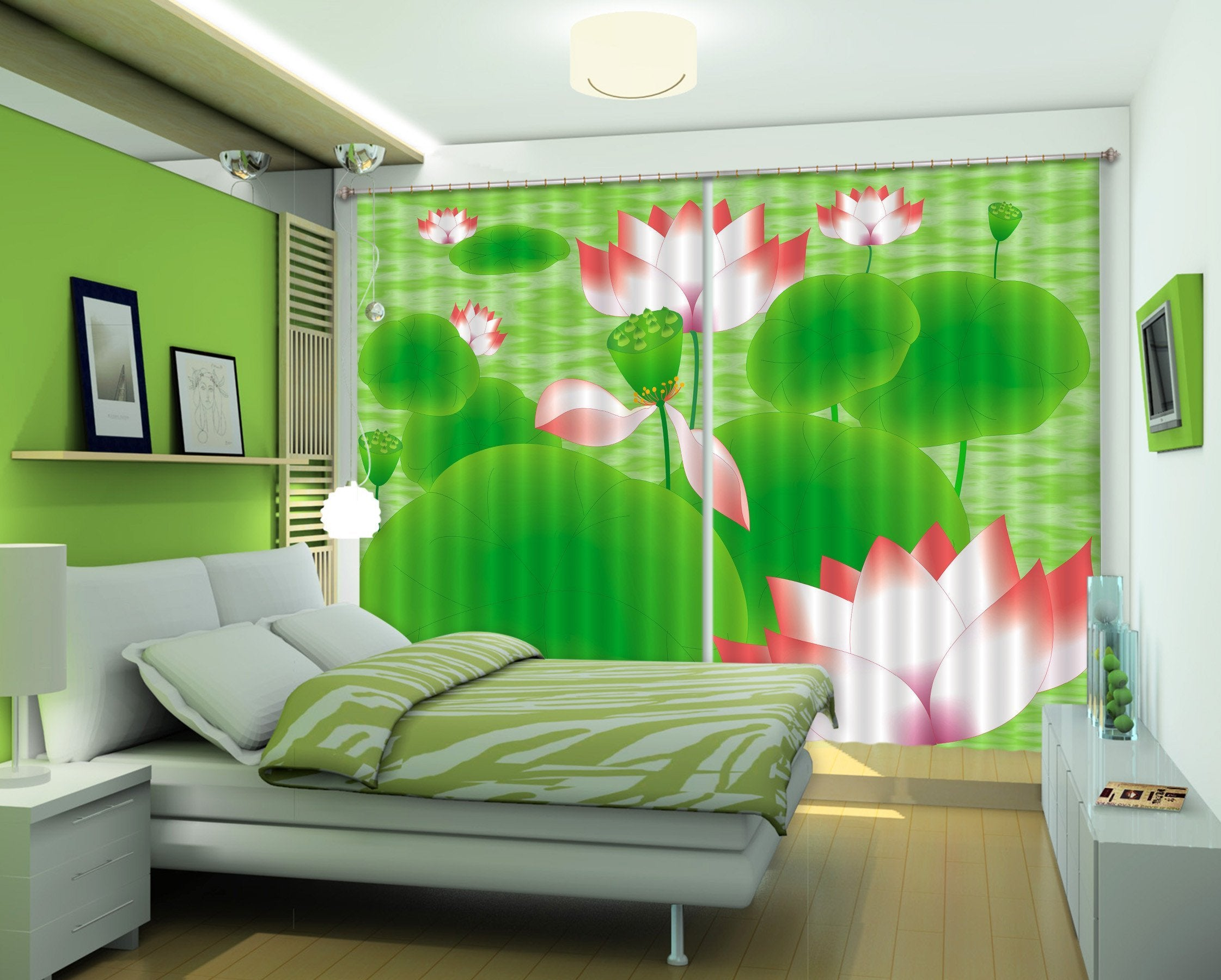 3D Lotus Flowers 274 Curtains Drapes Wallpaper AJ Wallpaper