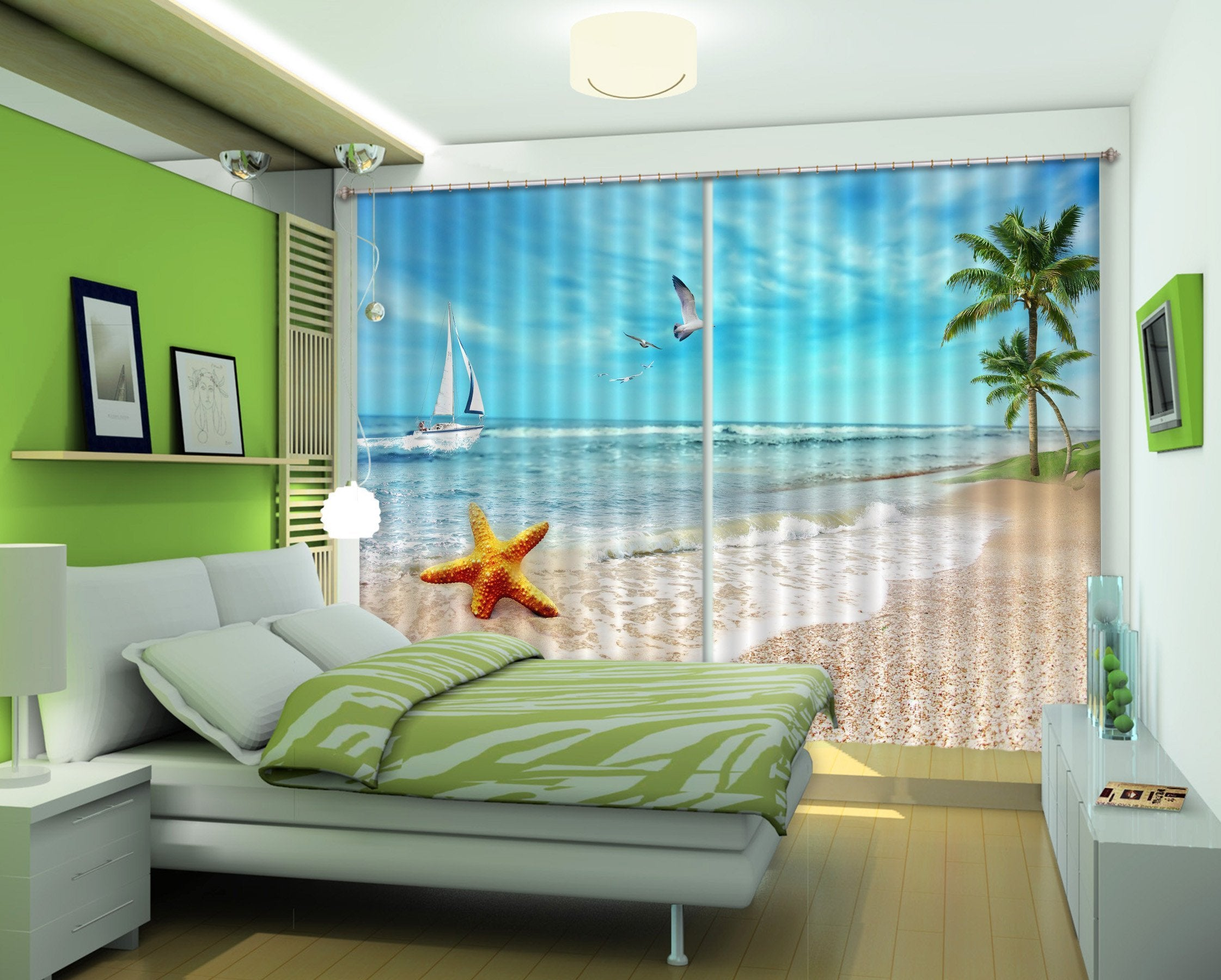 3D Beach Scenery 512 Curtains Drapes Wallpaper AJ Wallpaper