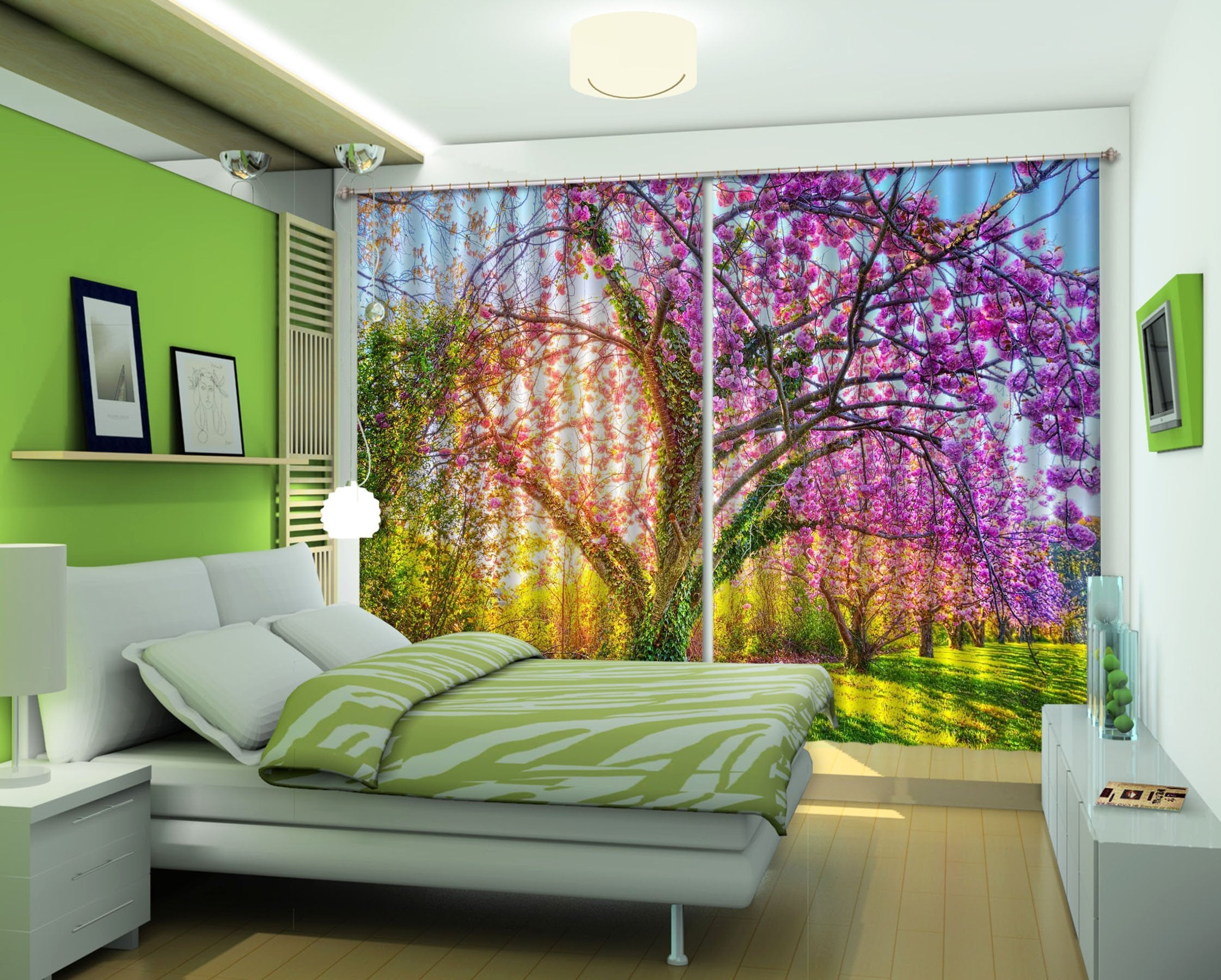 3D Pretty Flowering Trees 23 Curtains Drapes Wallpaper AJ Wallpaper
