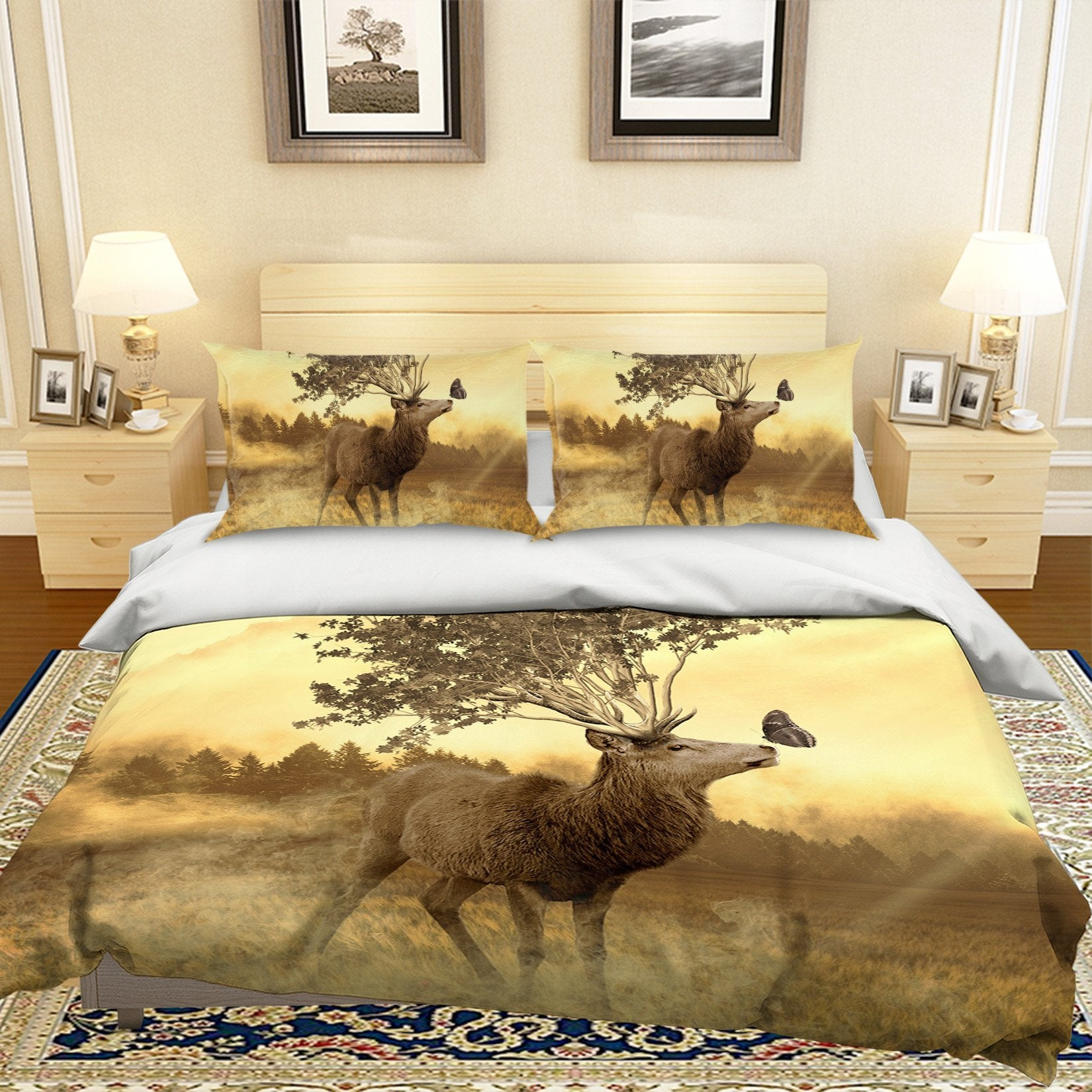 3D Grassland Elk 1955 Bed Pillowcases Quilt