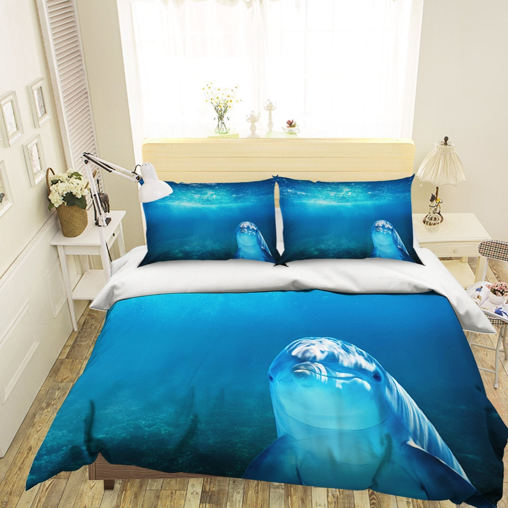 3D Deep Sea Dolphin 1991 Bed Pillowcases Quilt