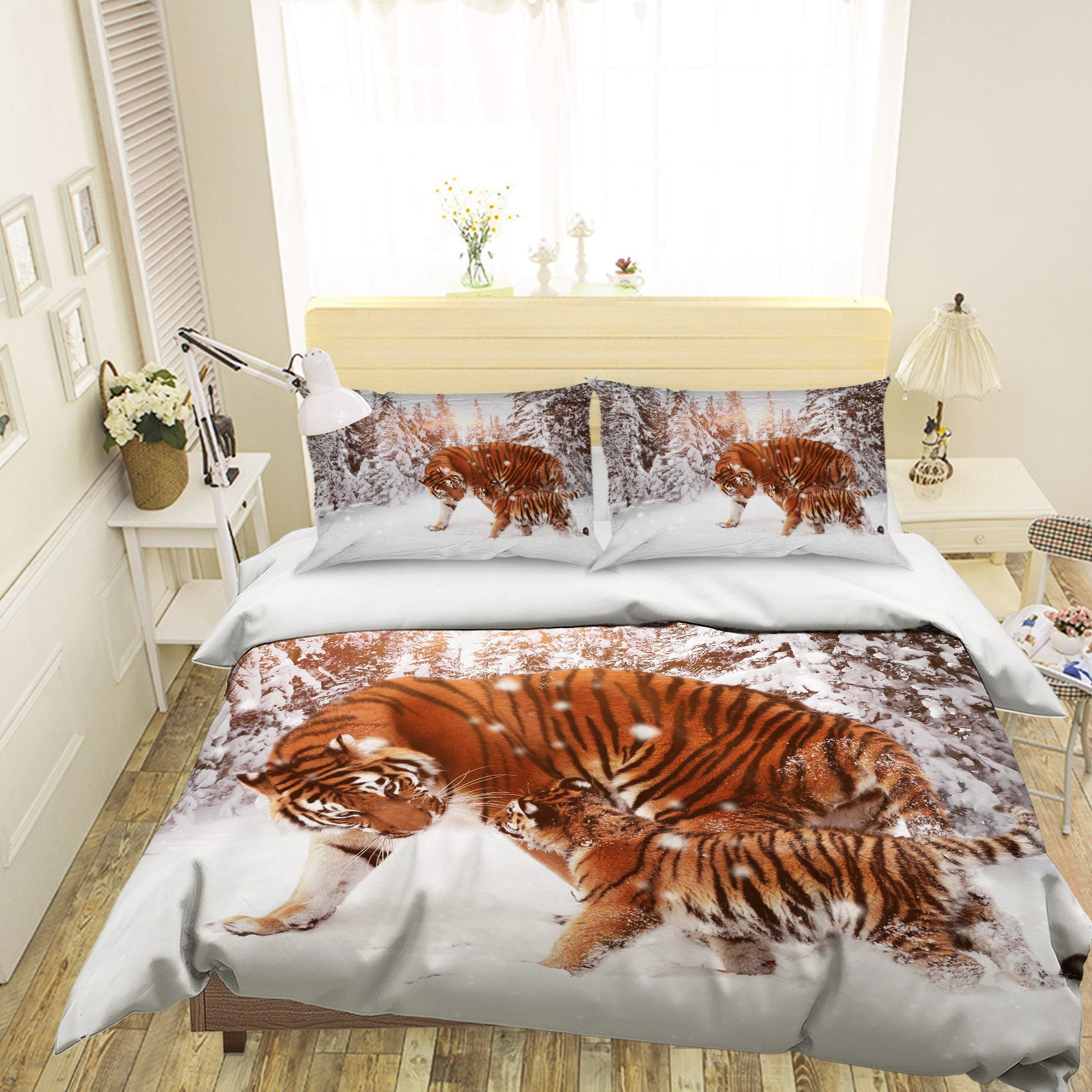 3D Snow Tiger 1950 Bed Pillowcases Quilt