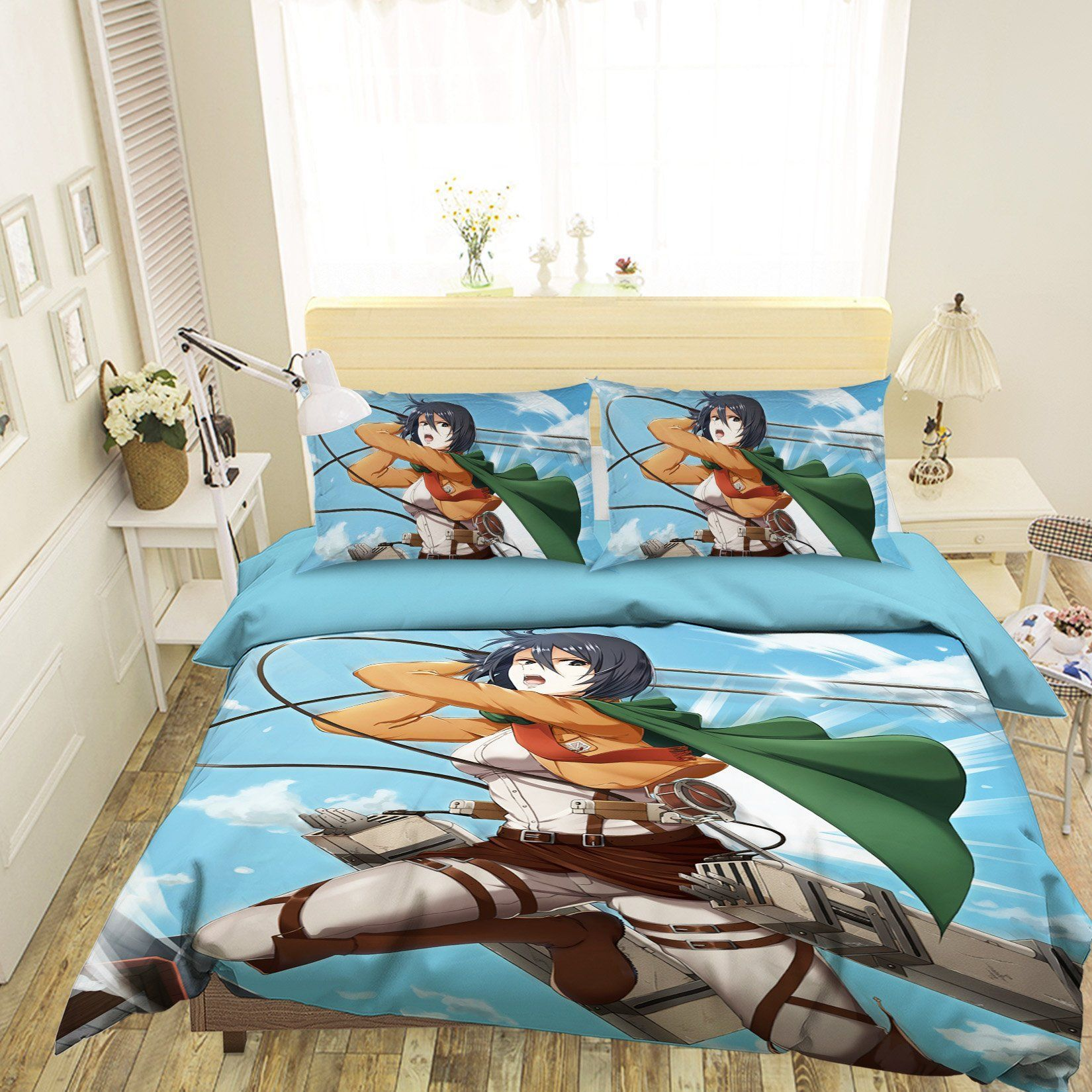 3D Attack On Titan 07 Anime Bed Pillowcases Quilt Quiet Covers AJ Creativity Home