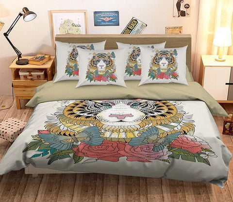 3D Flower Tiger 159 Bed Pillowcases Quilt Wallpaper AJ Wallpaper