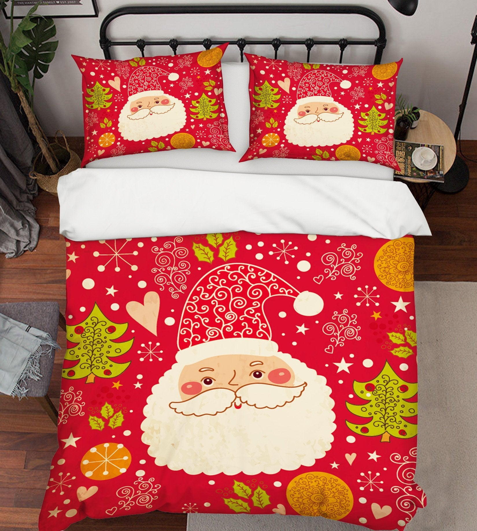 3D Christmas Happy Old Man 44 Bed Pillowcases Quilt Quiet Covers AJ Creativity Home