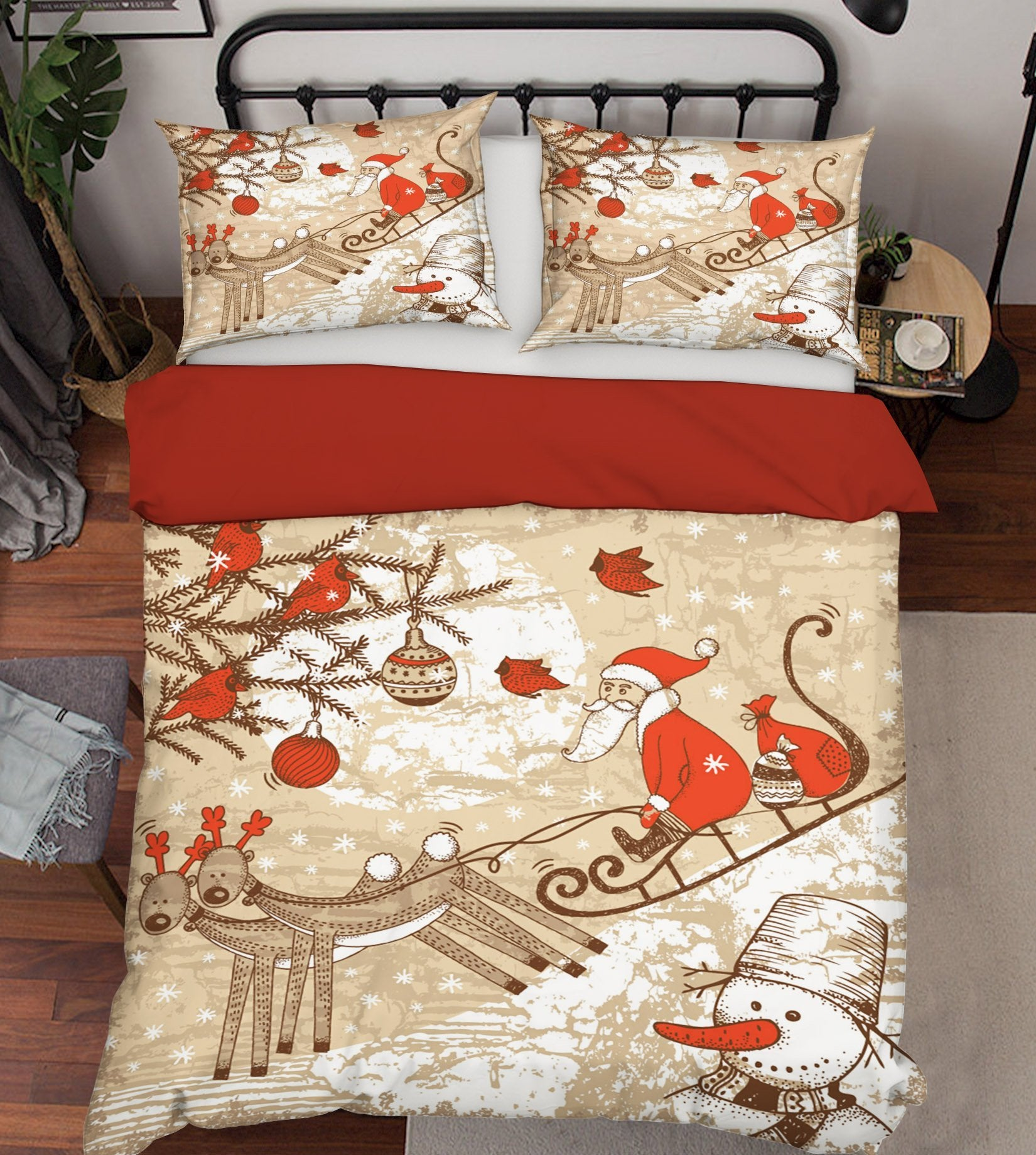 3D Christmas Sled Landslide 45 Bed Pillowcases Quilt Quiet Covers AJ Creativity Home