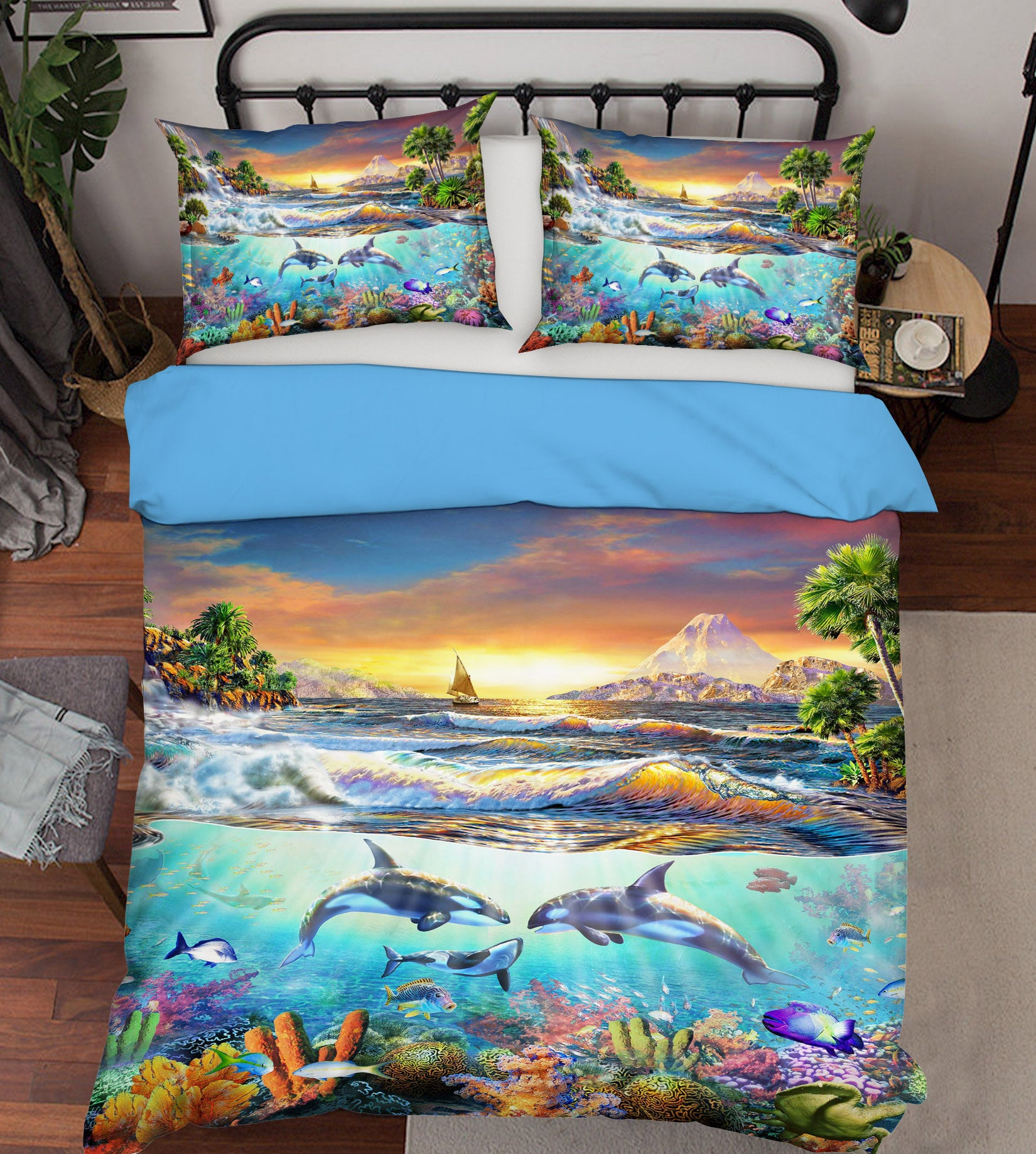 3D Atlantic Dolphins 2024 Adrian Chesterman Bedding Bed Pillowcases Quilt