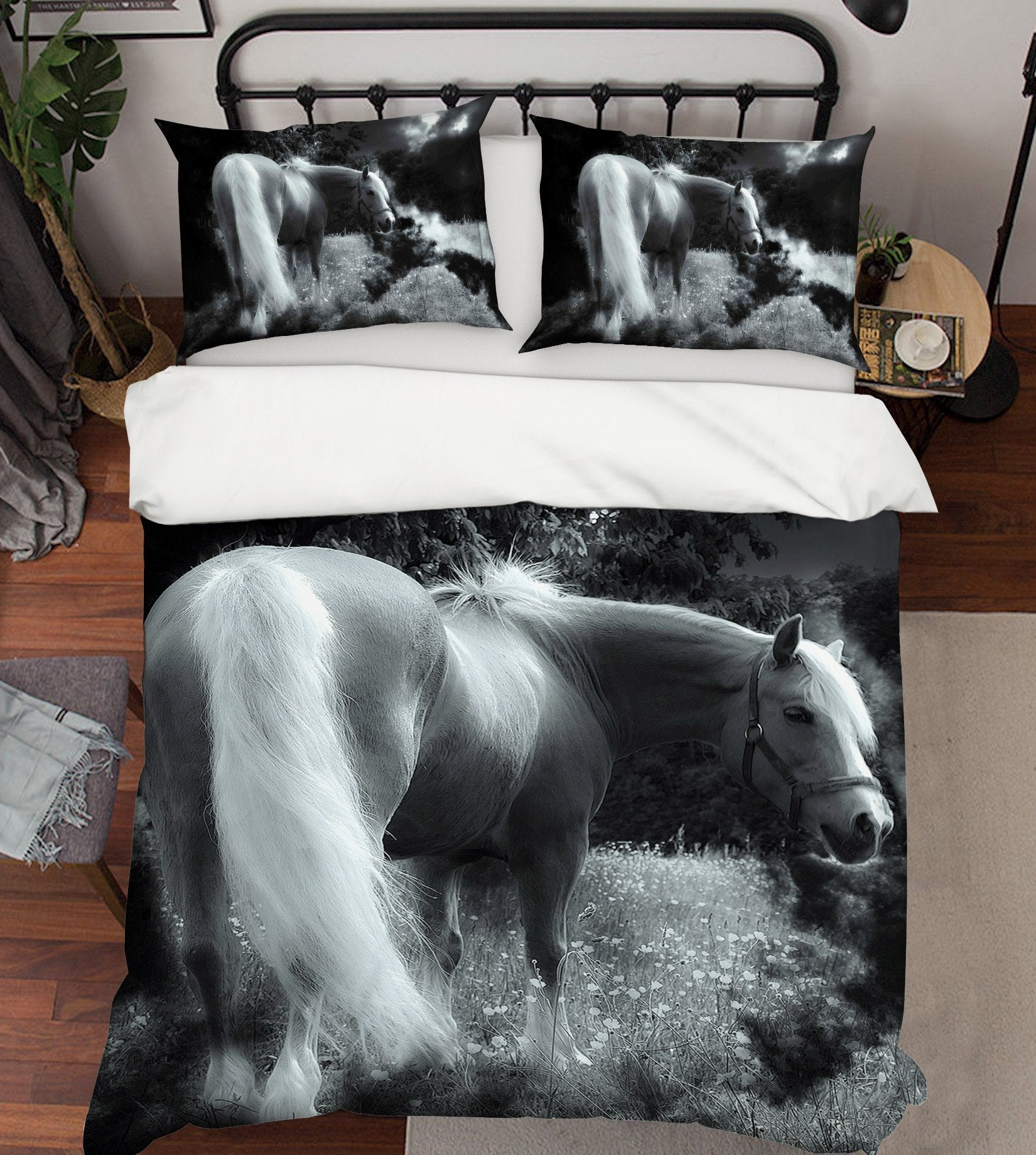 3D Grey Horse 1956 Bed Pillowcases Quilt