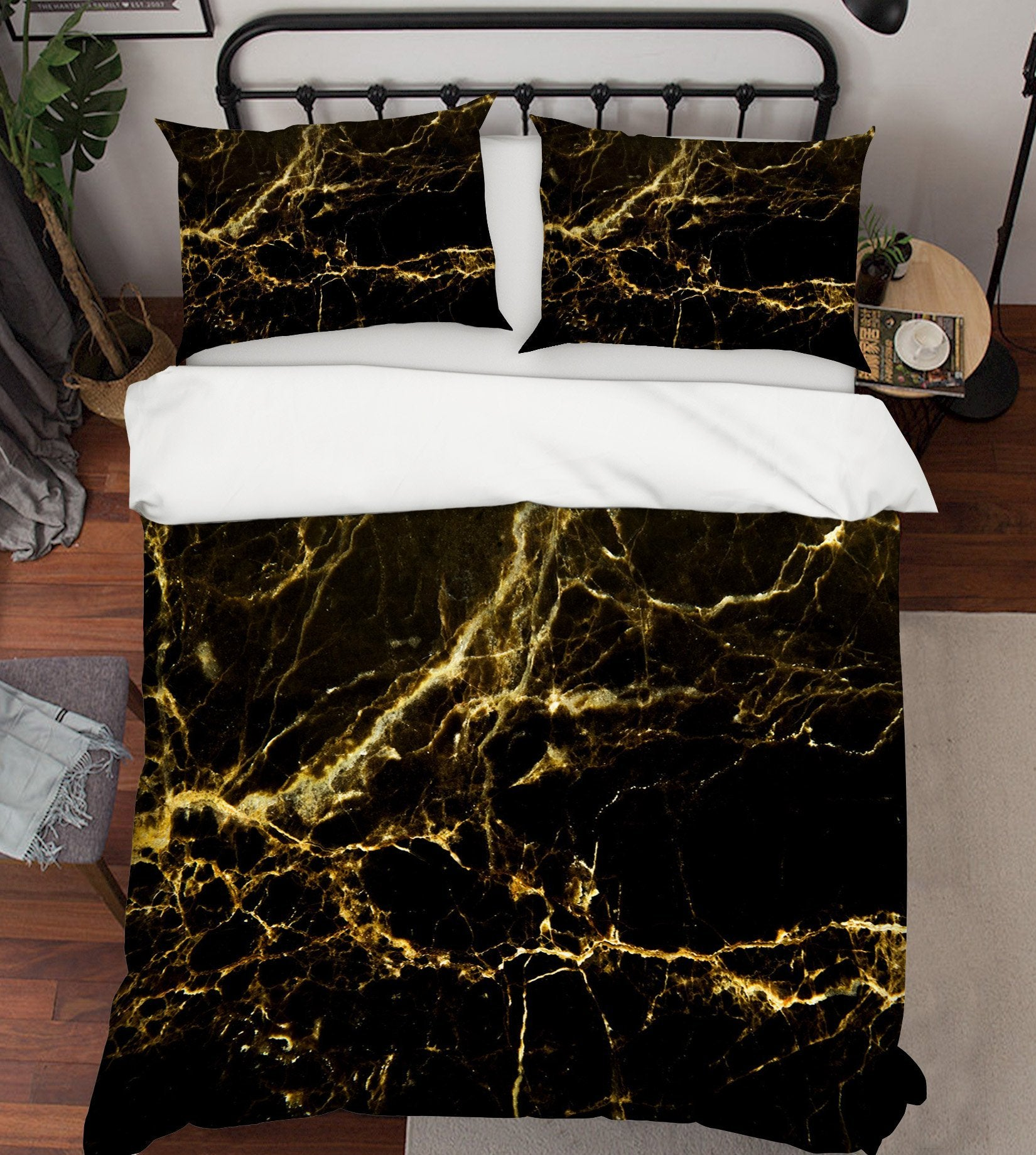 3D Black Gold Irregular 039 Bed Pillowcases Quilt Wallpaper AJ Wallpaper