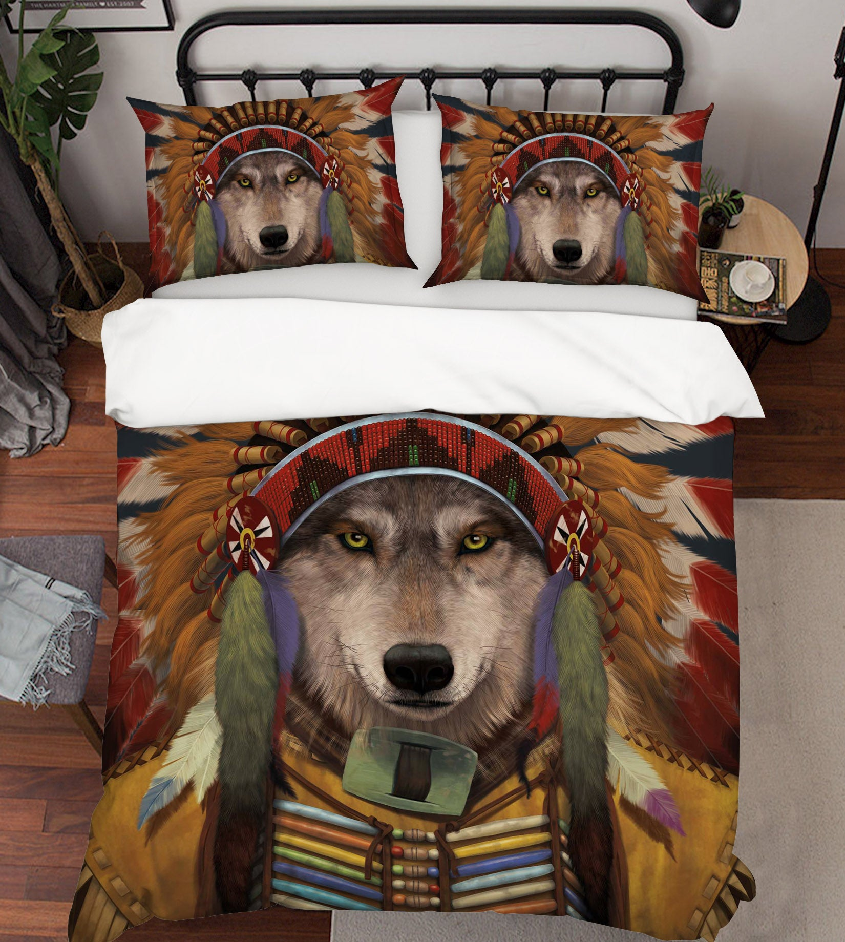 3D Wolf Spirit Chief 103 Bed Pillowcases Quilt Exclusive Designer Vincent