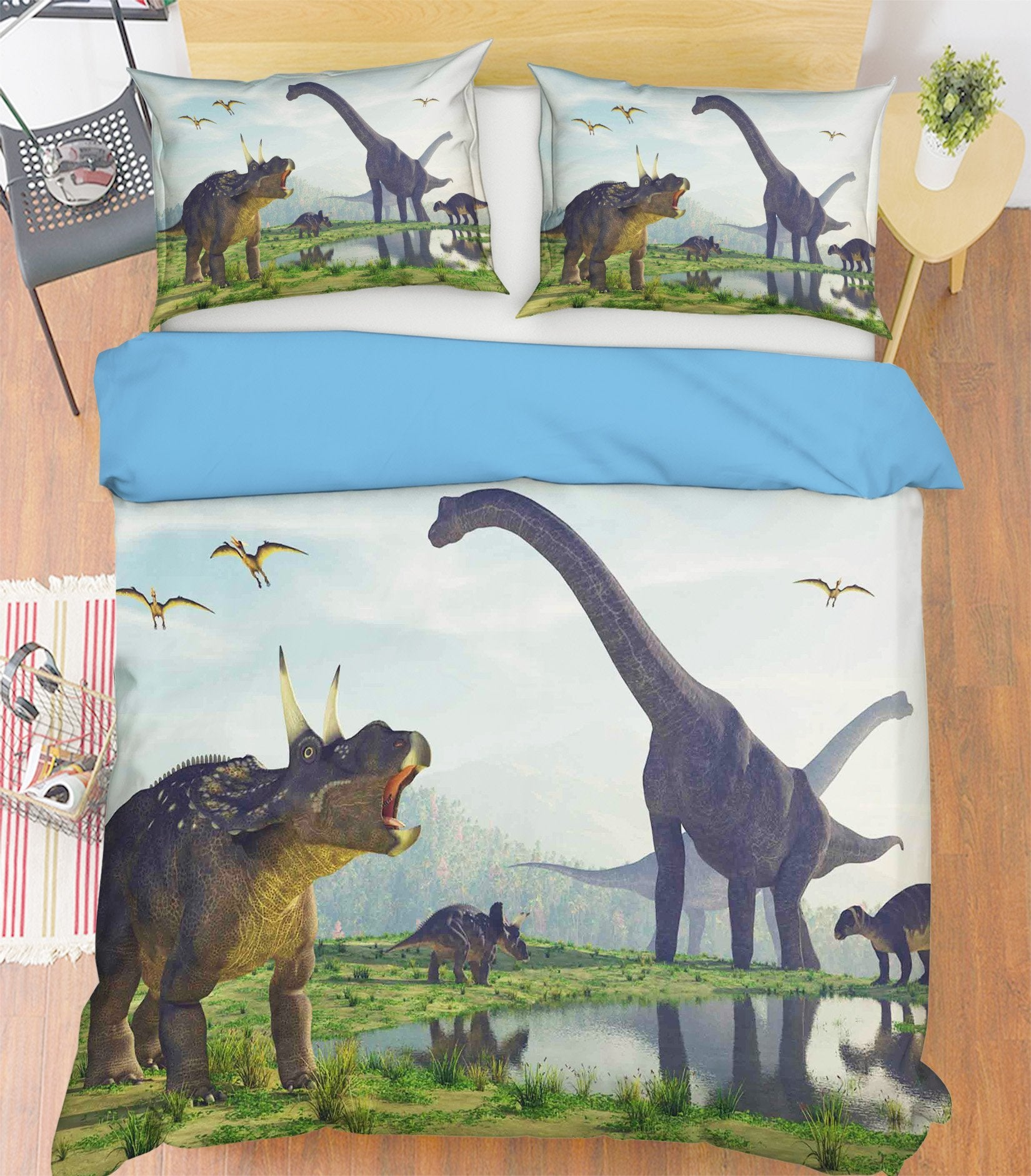 3D Brontosaurus Horned Dragon 099 Bed Pillowcases Quilt Wallpaper AJ Wallpaper