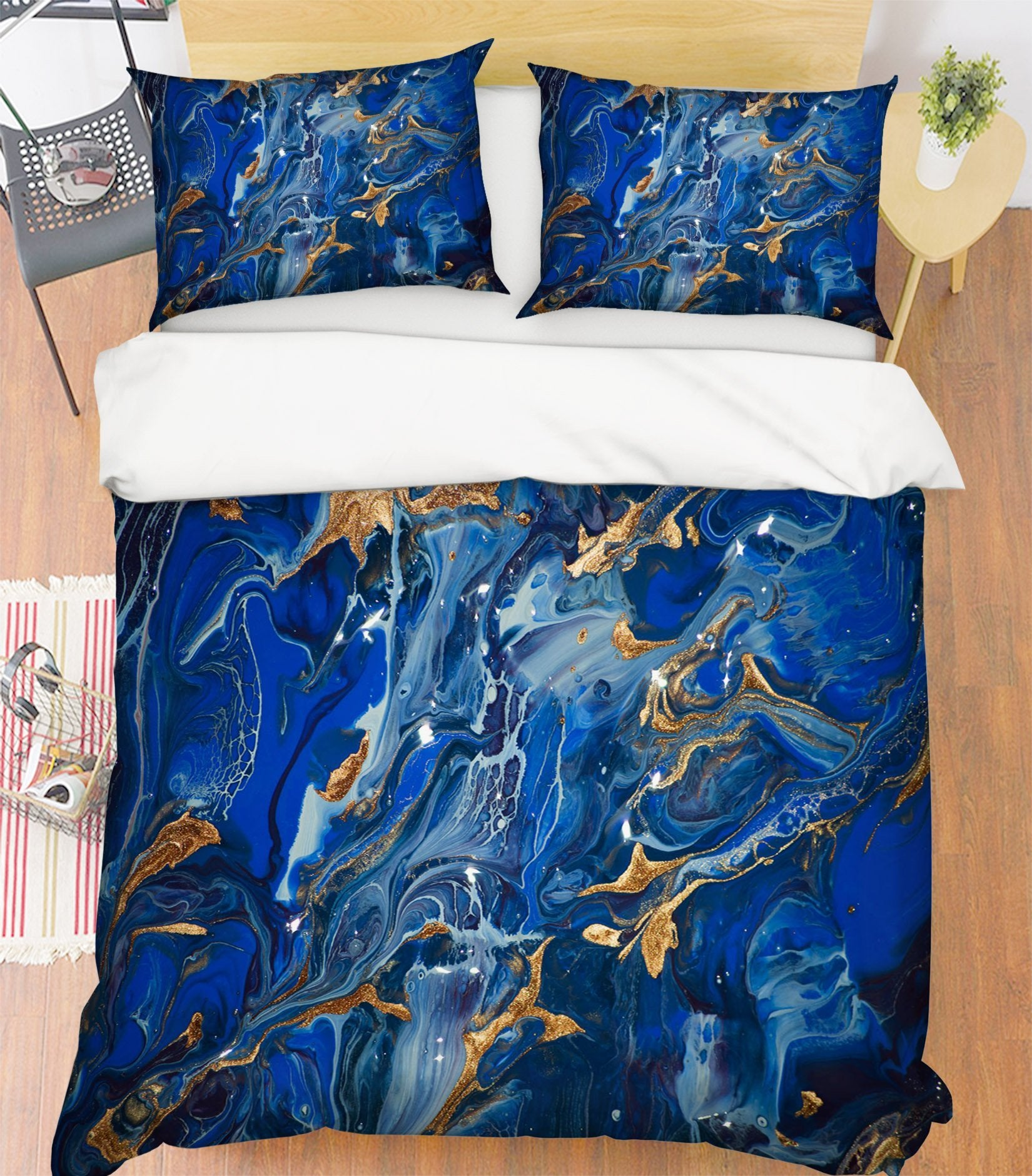 3D Dark Blue Gold Powder 050 Bed Pillowcases Quilt Wallpaper AJ Wallpaper