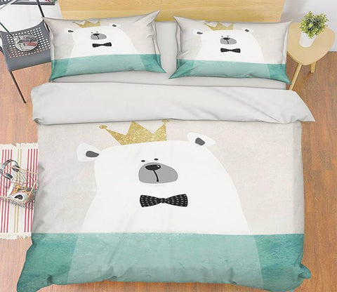 3D White Bear Crown 154 Bed Pillowcases Quilt Wallpaper AJ Wallpaper