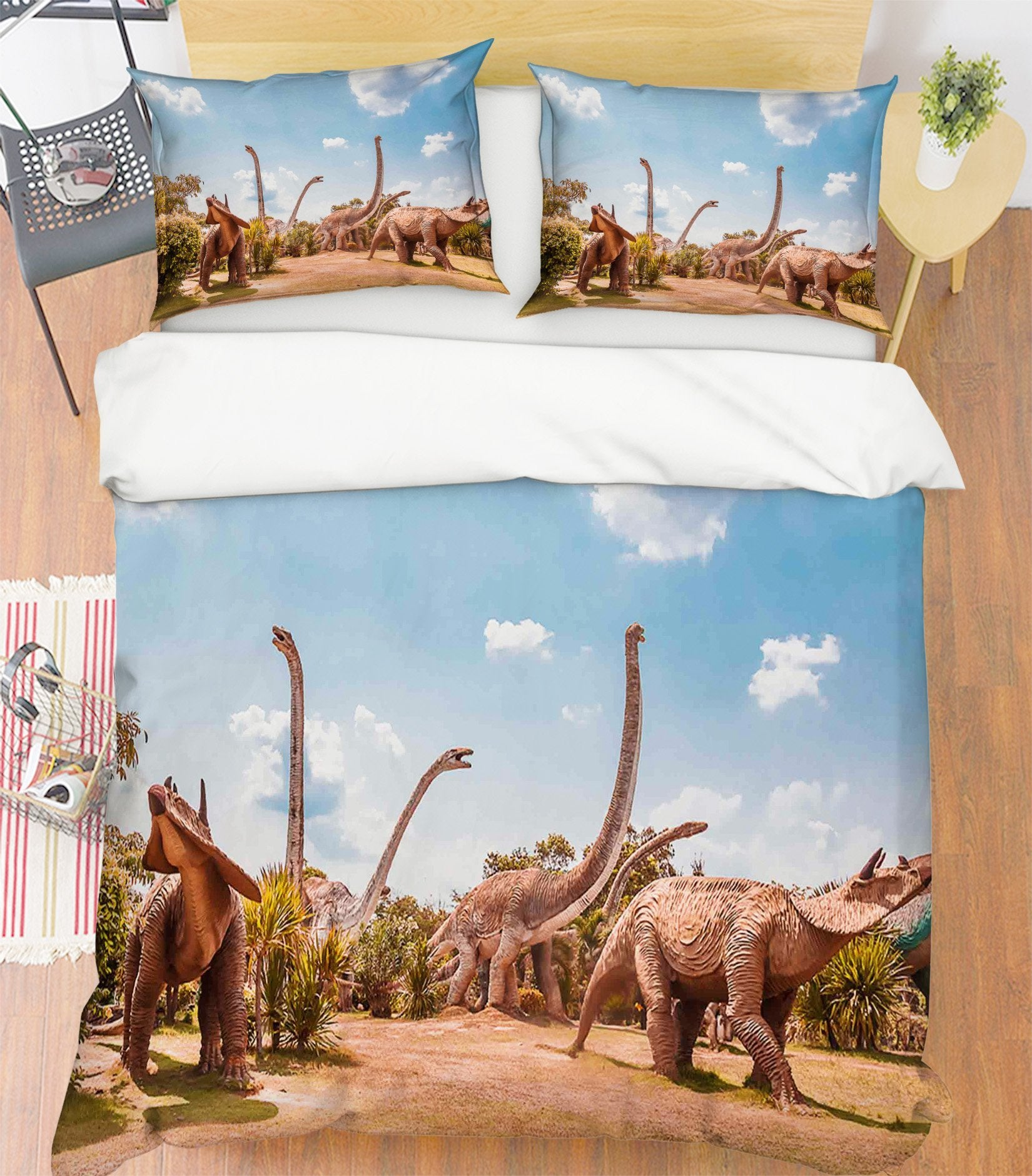 3D Brontosaurus Group 089 Bed Pillowcases Quilt Wallpaper AJ Wallpaper