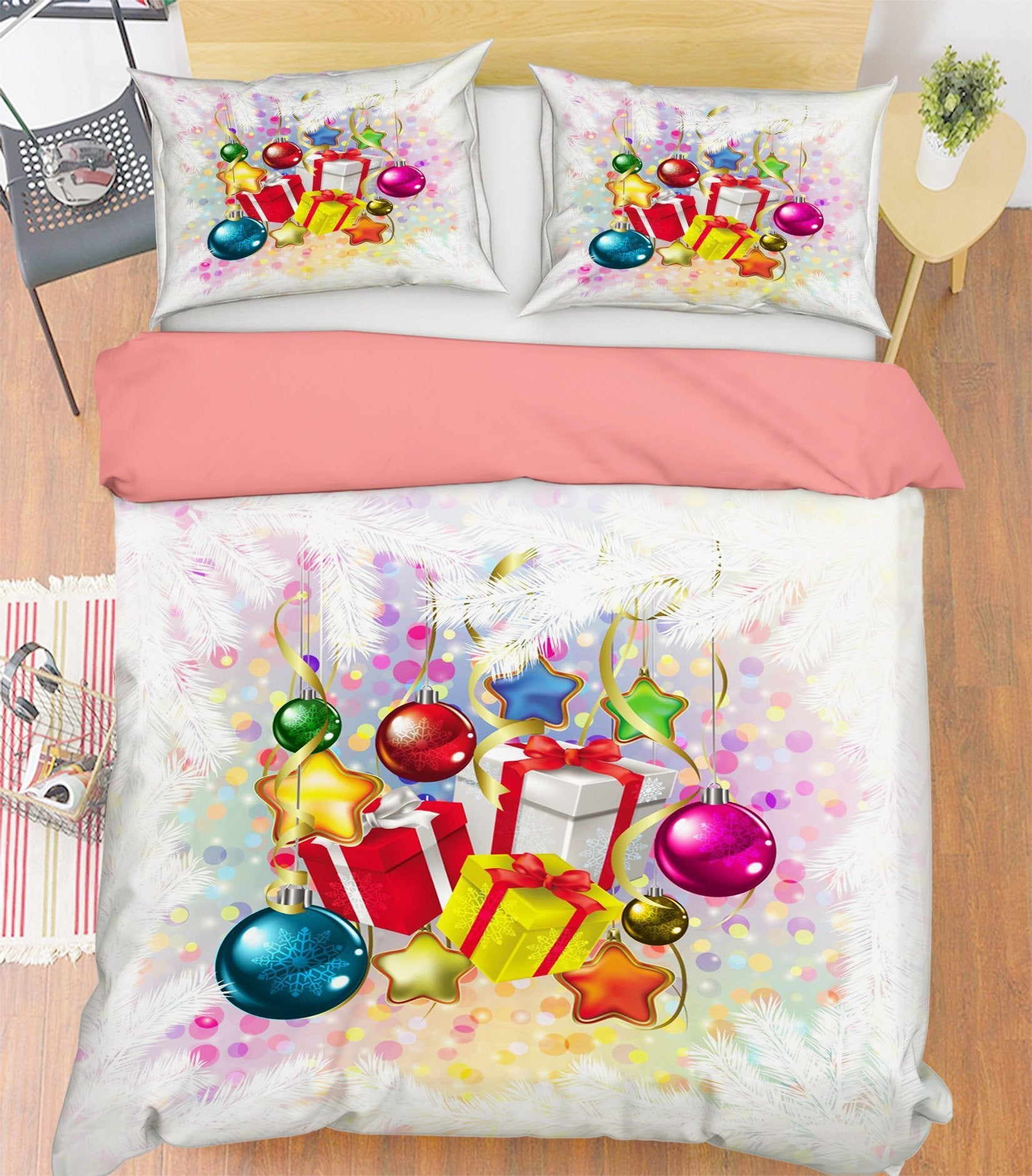 3D Christmas Colorful Ball Gift 46 Bed Pillowcases Quilt Quiet Covers AJ Creativity Home