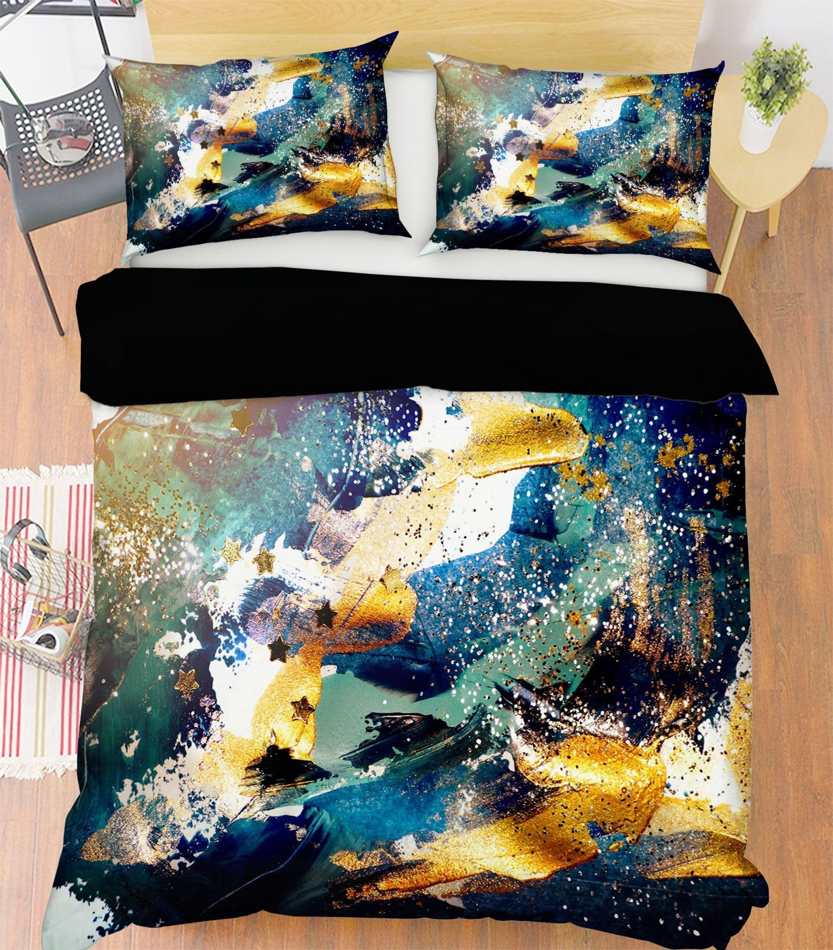 3D Gold Water Abstract 058 Bed Pillowcases Quilt Wallpaper AJ Wallpaper