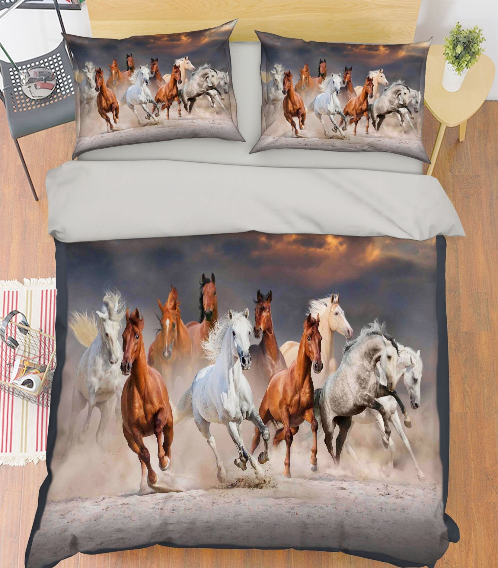 3D Running Horse 130 Bed Pillowcases Quilt Wallpaper AJ Wallpaper