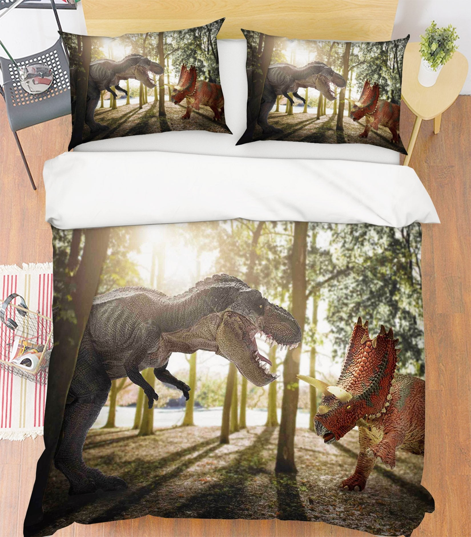 3D Tyrannosaurus Battle 085 Bed Pillowcases Quilt Wallpaper AJ Wallpaper