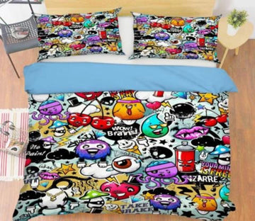 3D Graffiti Cartoon 221 Bed Pillowcases Quilt Wallpaper AJ Wallpaper