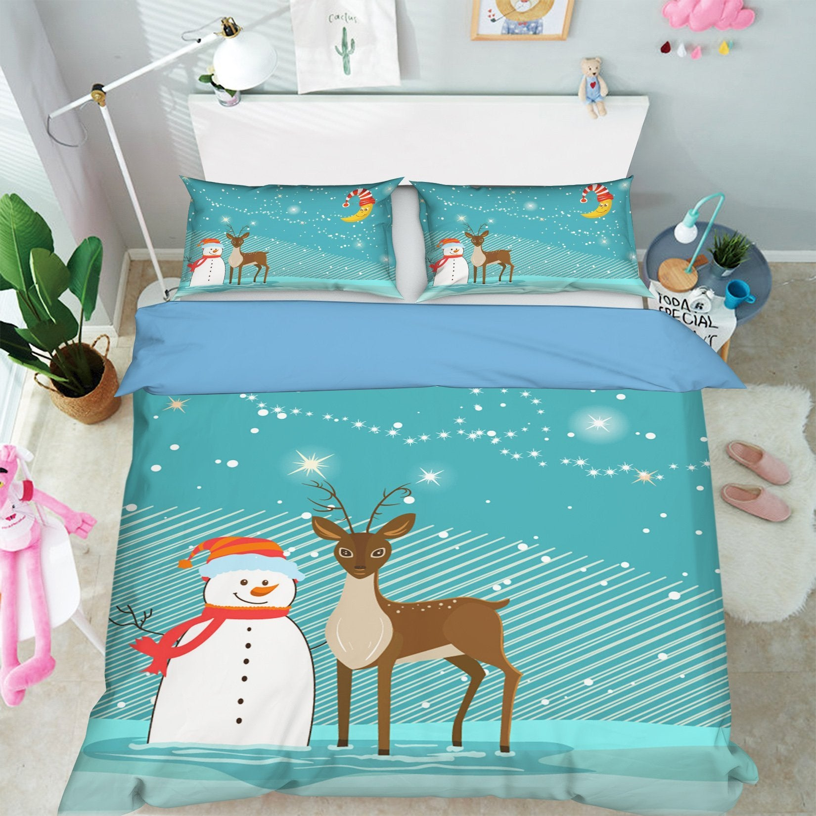 3D Christmas Snowman Deer Staring 30 Bed Pillowcases Quilt Quiet Covers AJ Creativity Home
