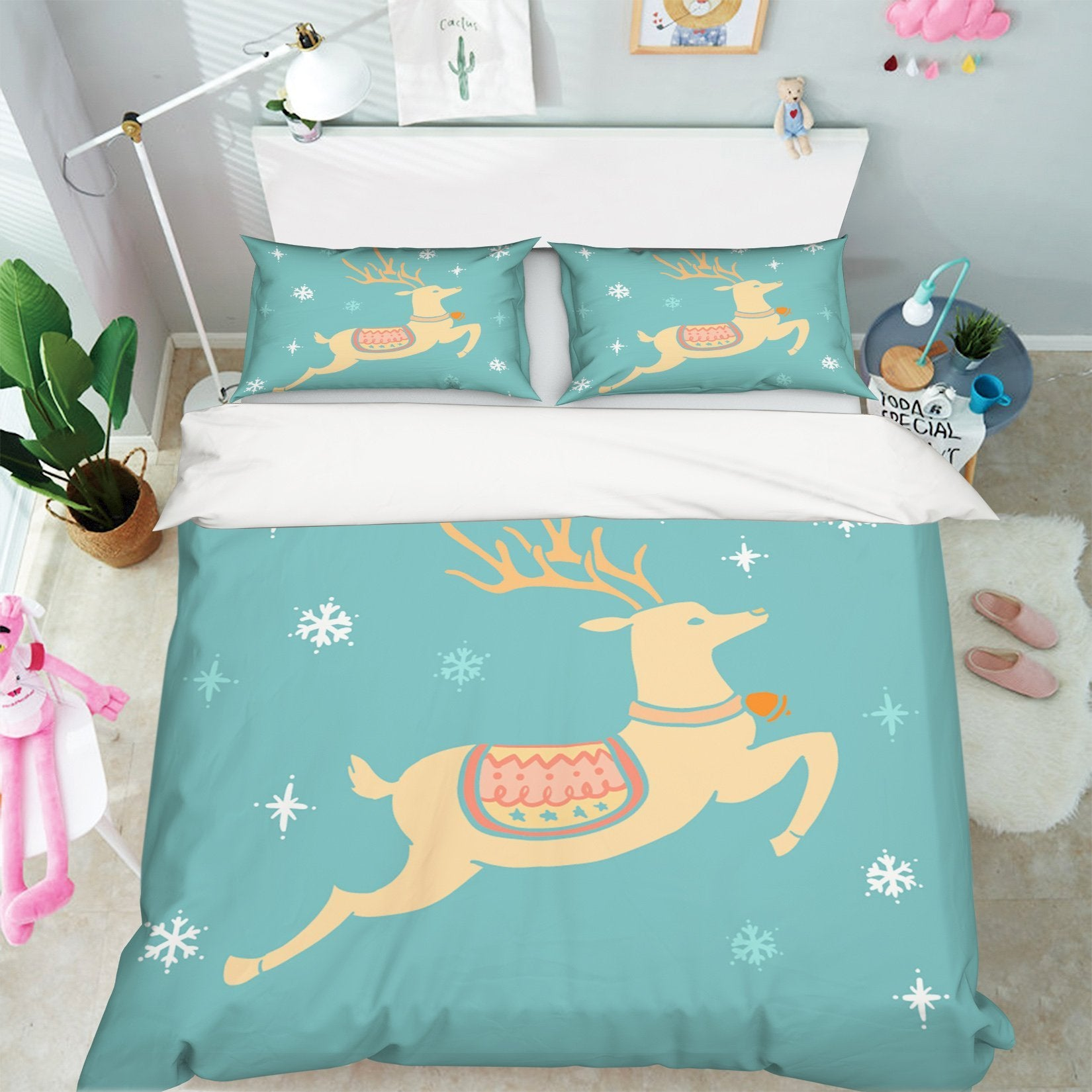 3D Christmas Jumping Deer 19 Bed Pillowcases Quilt Quiet Covers AJ Creativity Home