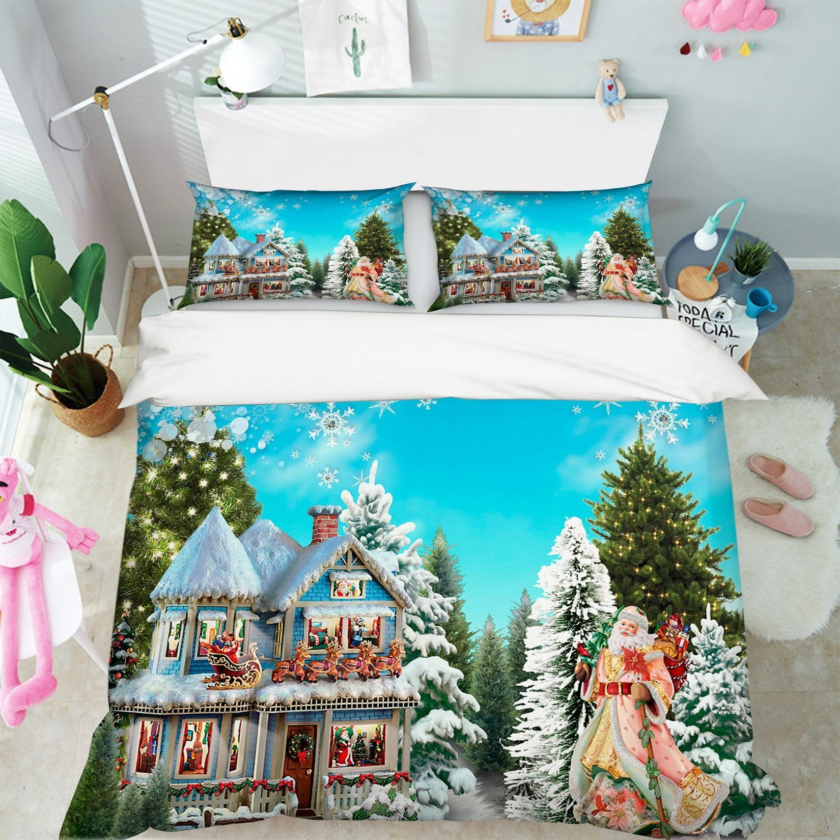 3D Christmas Villa Decoration 50 Bed Pillowcases Quilt Quiet Covers AJ Creativity Home