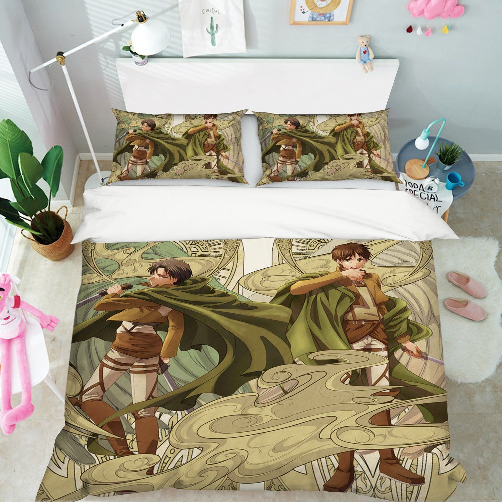 3D Attack On Titan 04 Anime Bed Pillowcases Quilt Quiet Covers AJ Creativity Home