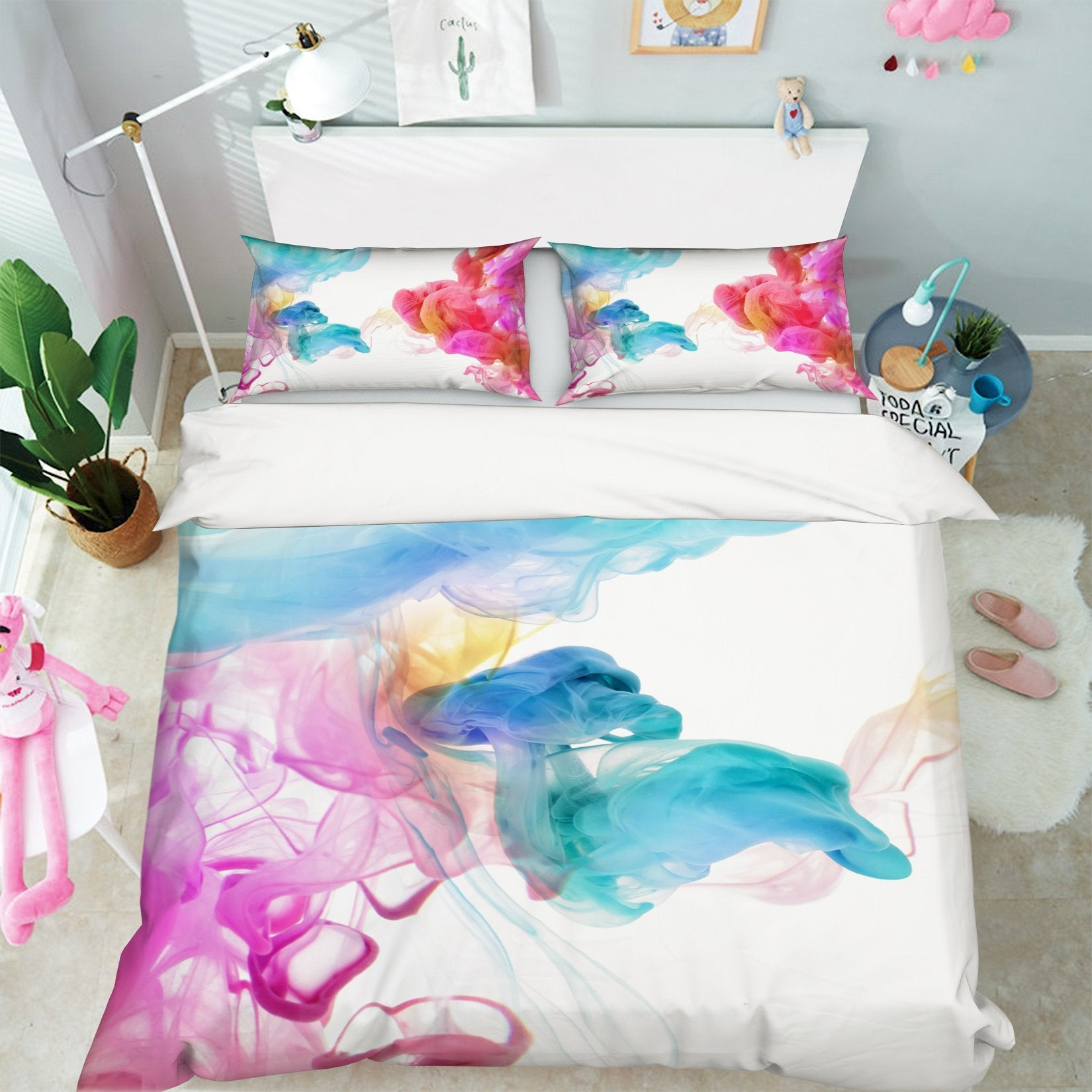 3D Gouache Gradient 004 Bed Pillowcases Quilt Wallpaper AJ Wallpaper