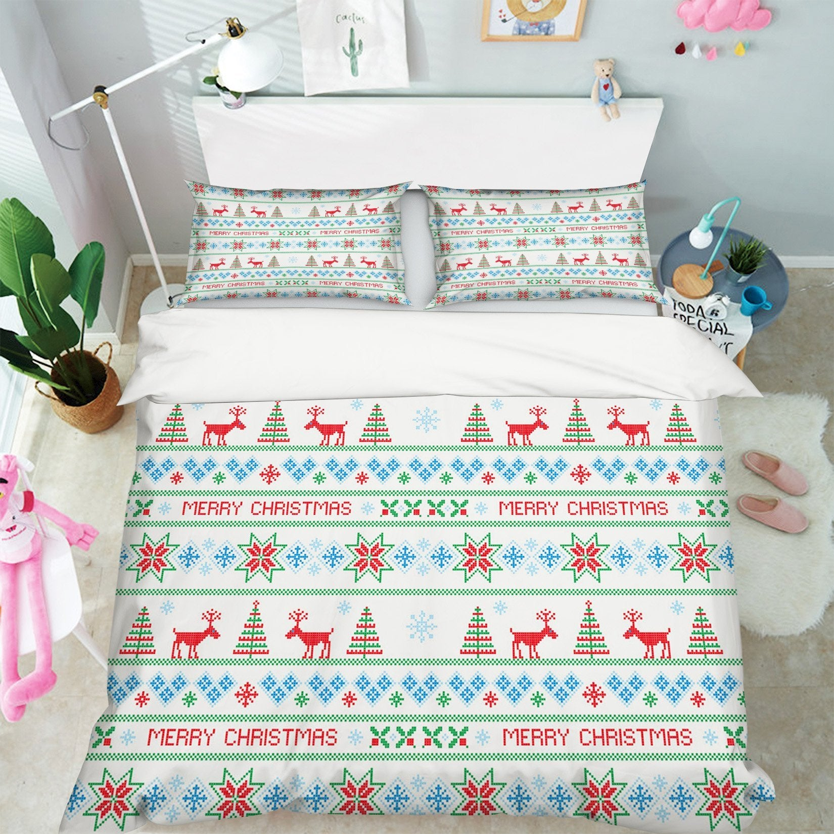 3D Christmas Deer Pattern 1 Bed Pillowcases Quilt Quiet Covers AJ Creativity Home