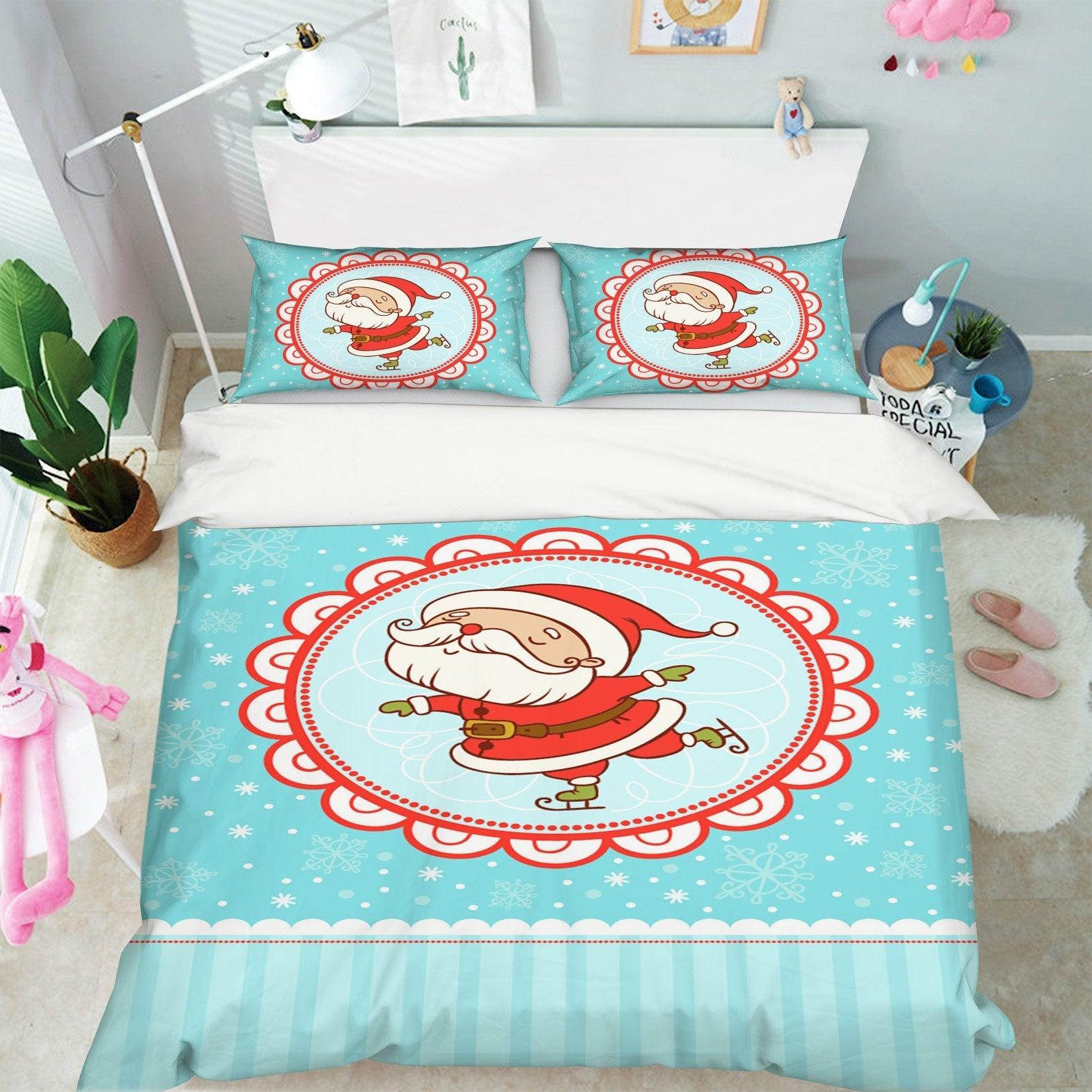 3D Christmas Lace White Beard 33 Bed Pillowcases Quilt Quiet Covers AJ Creativity Home
