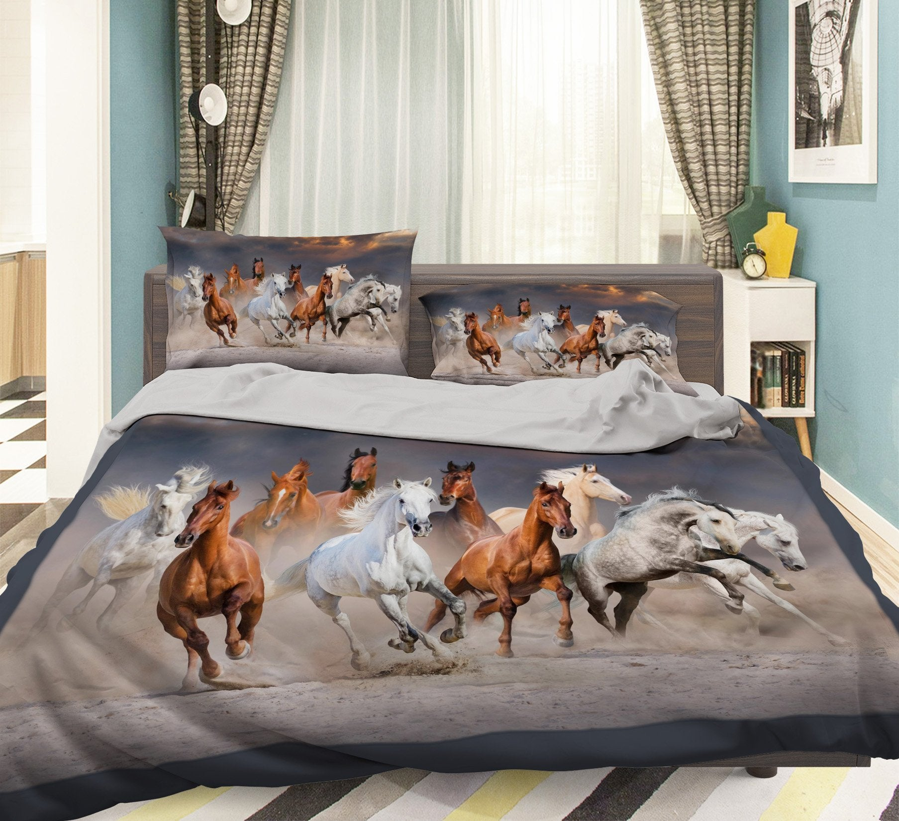 3D Running Horse 130 Bed Pillowcases Quilt