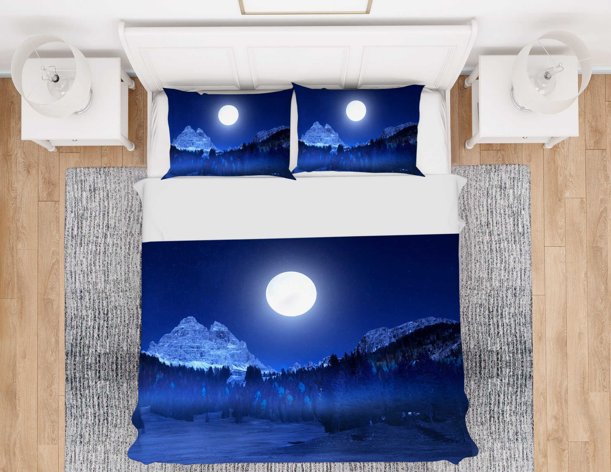 3D Mountain Moon 160 Marco Carmassi Bedding Bed Pillowcases Quilt