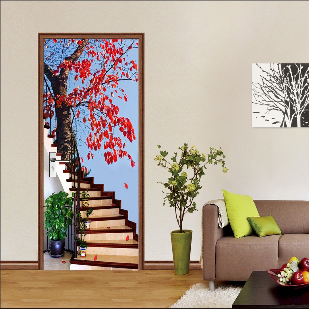 3D stairway pretty tree painting door mural Wallpaper AJ Wallpaper